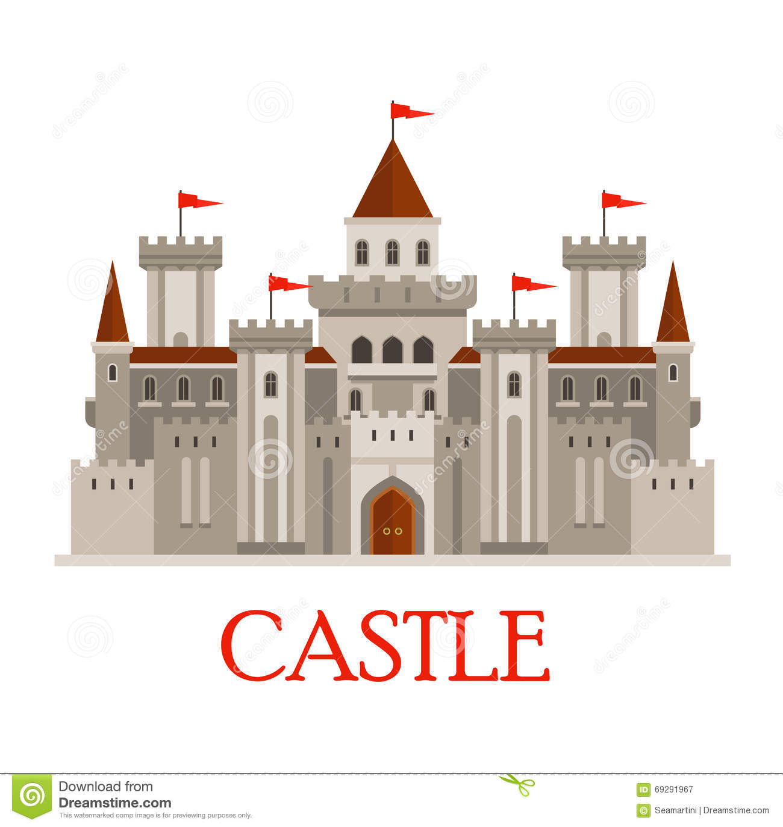 Castello medievale grigio con le torrette illustrazione for Piani di casa castello medievale