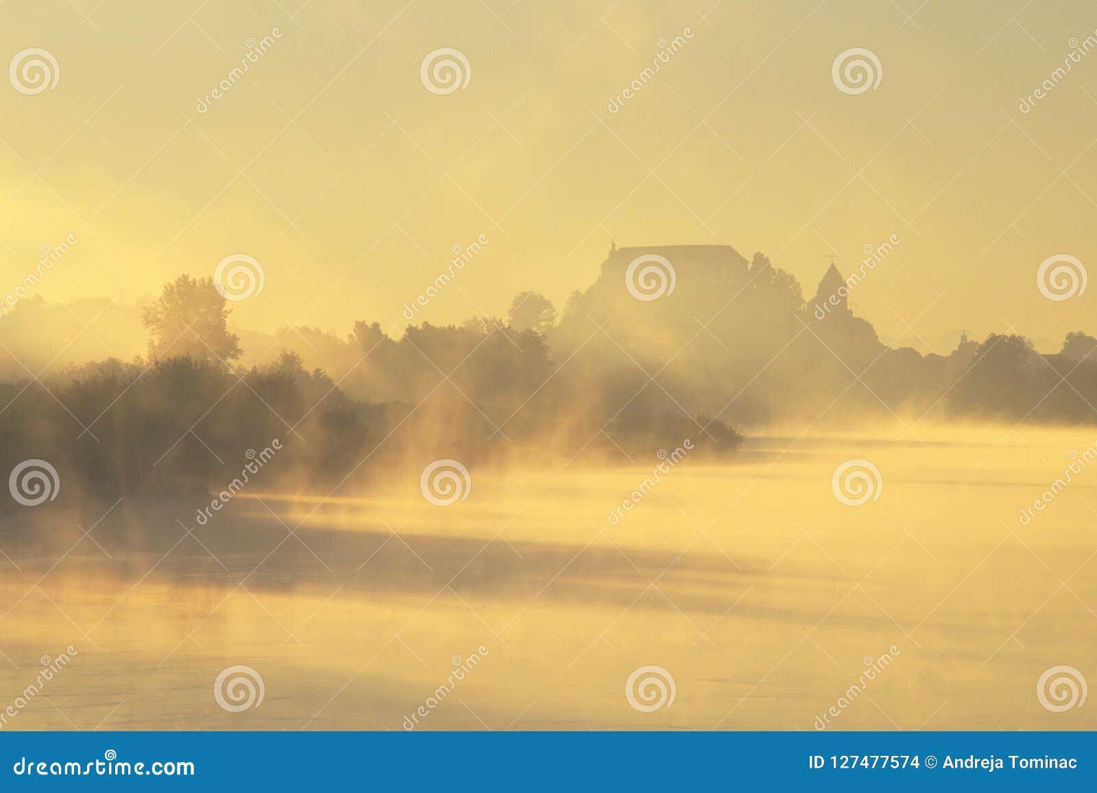 Castello misterioso in autunno nebbioso