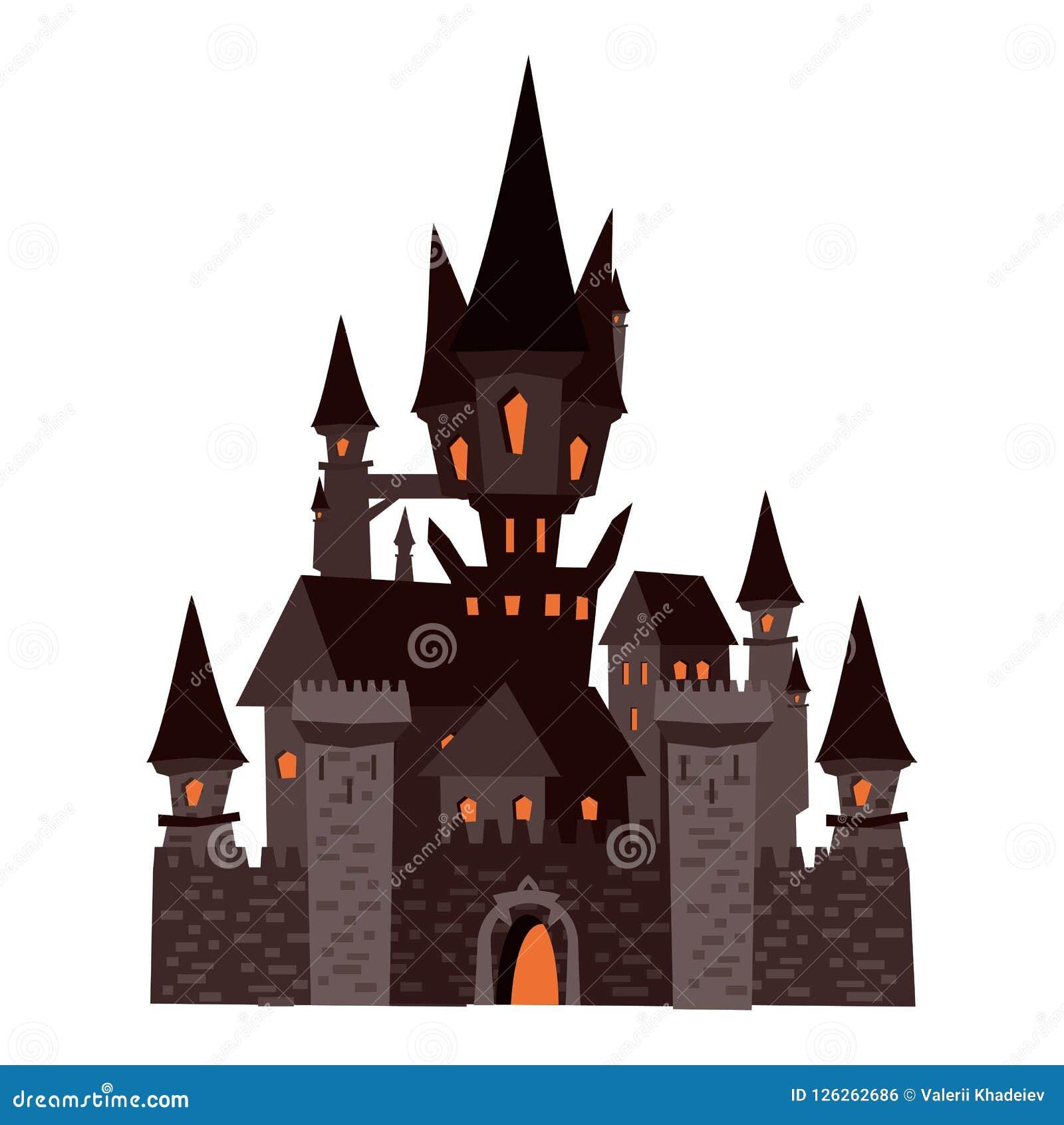 Castello nero abbandonato, festa Halloween, carattere, attributo, icona, vettore, illustrazione, isolata, styyle del fumetto