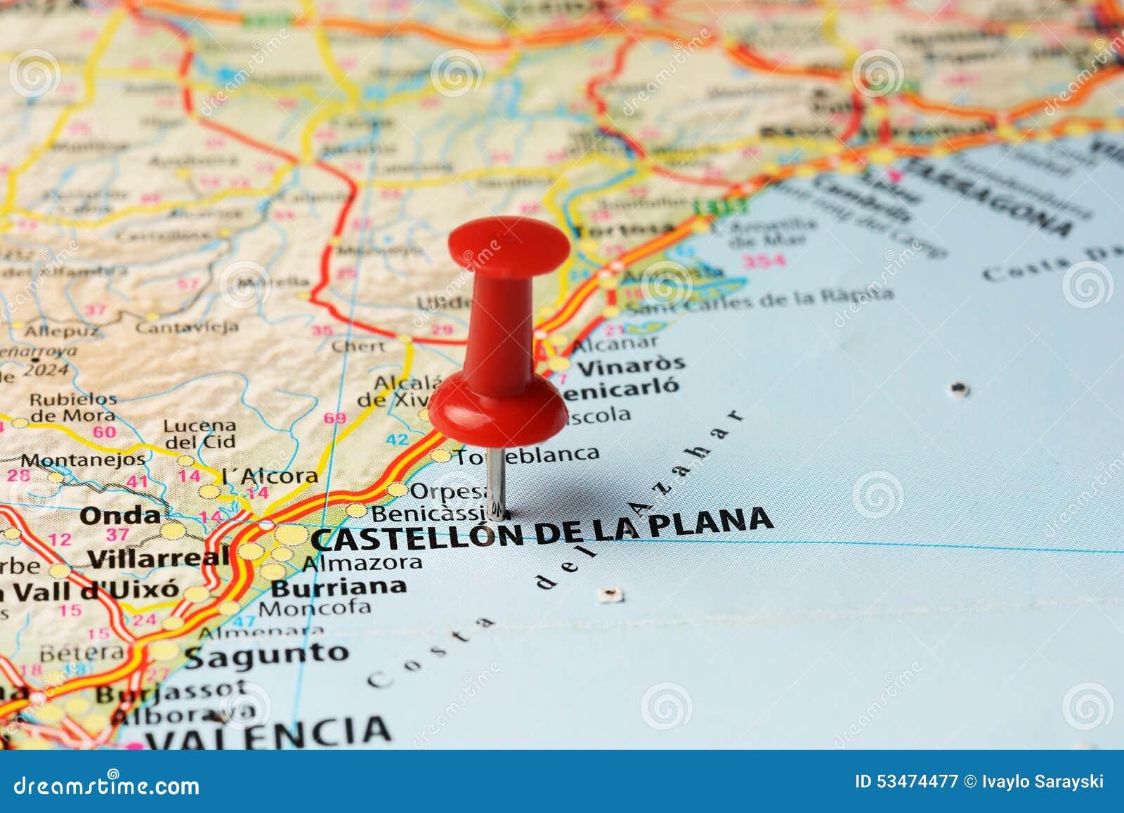 Castellon de la Plana Spain  city pictures gallery : Close up of Castellon de la Plana , Spain map with red pin ,travel ...