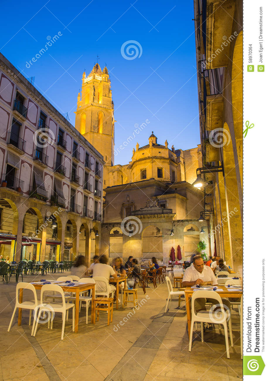 City of reus night life with cathedral editorial stock image wallpaper hd - Muebles en castellon dela plana ...