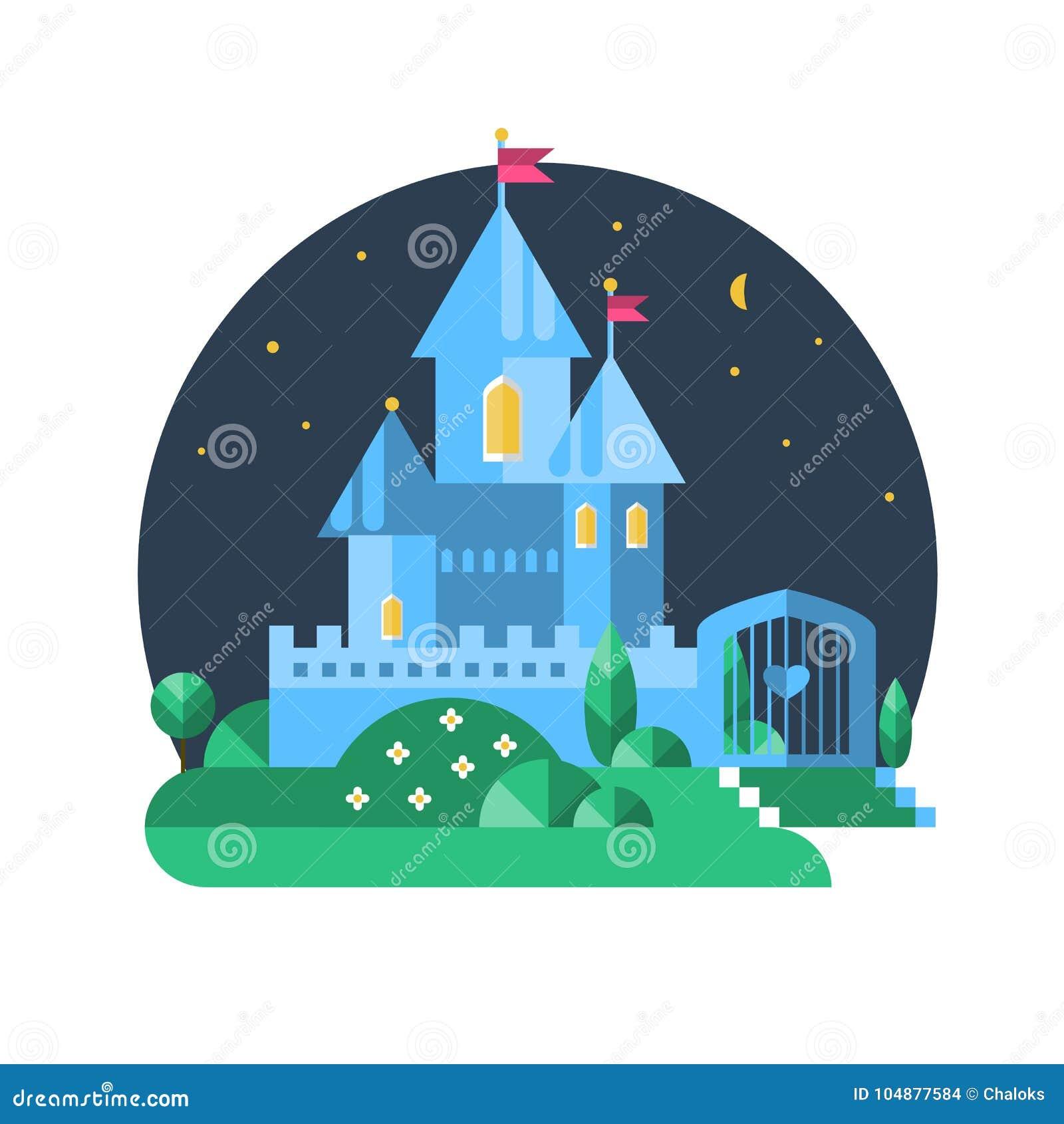 Castelo azul Ilustração lisa do vetor
