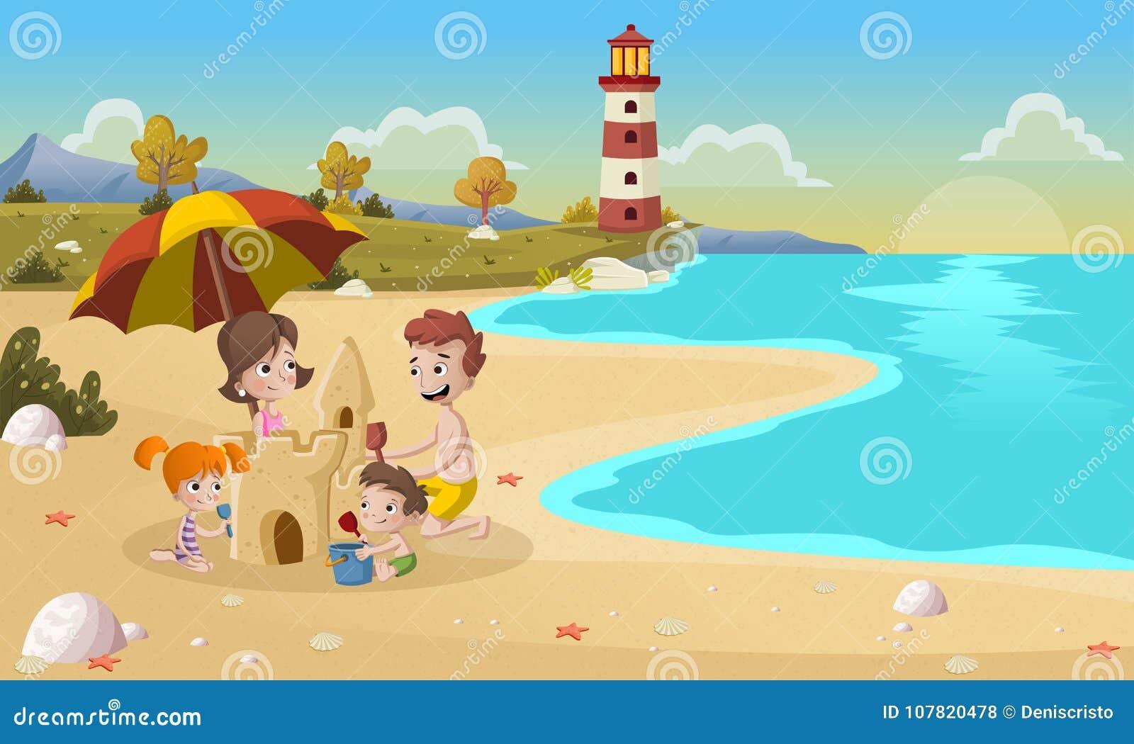 Castelo da areia da construção da família na praia bonita