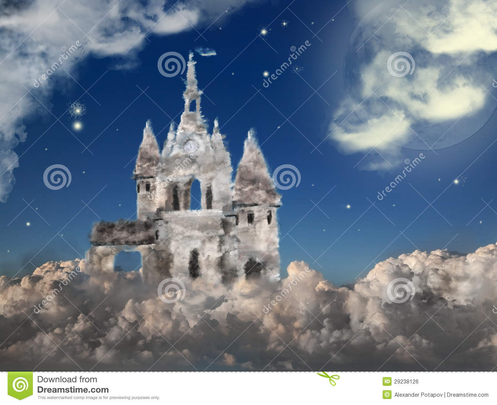Download Castelo da nuvem na noite foto de stock. Imagem de construído - 29238126
