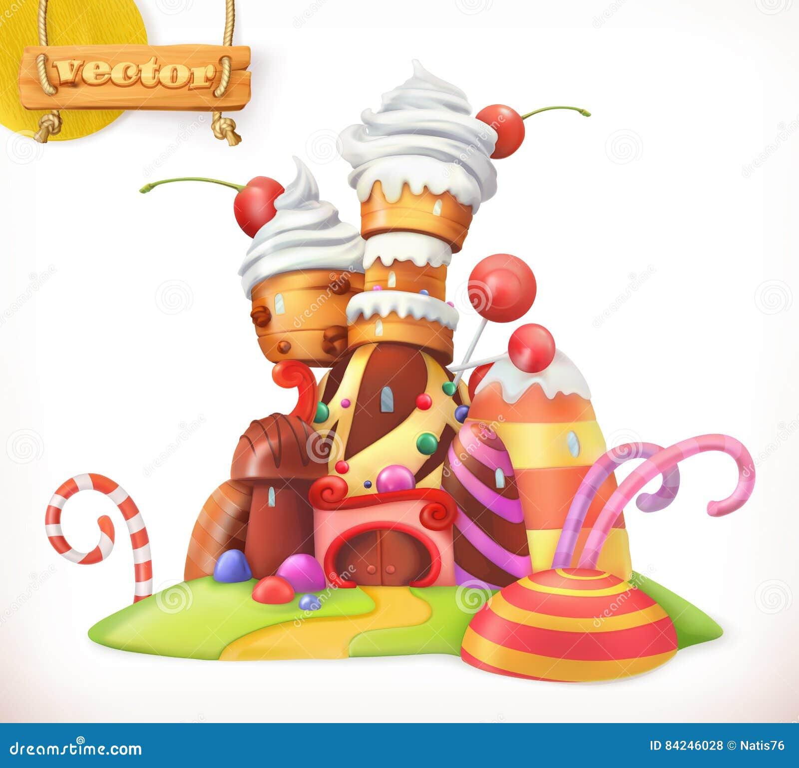 Castelo doce Casa de pão-de-espécie ícone do vetor 3d