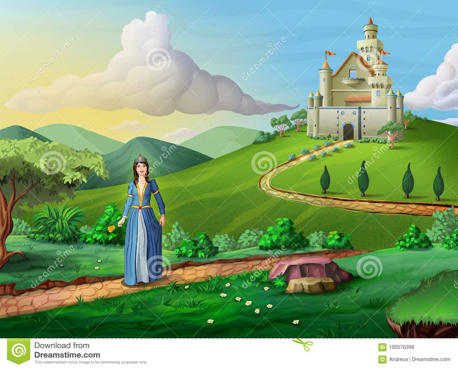 Castelo e princesa dos contos de Faity