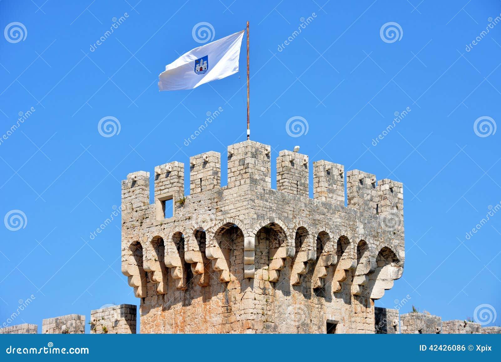 Castillo de Kamerlengo en Trogir, Croacia - detalles arquitectónicos