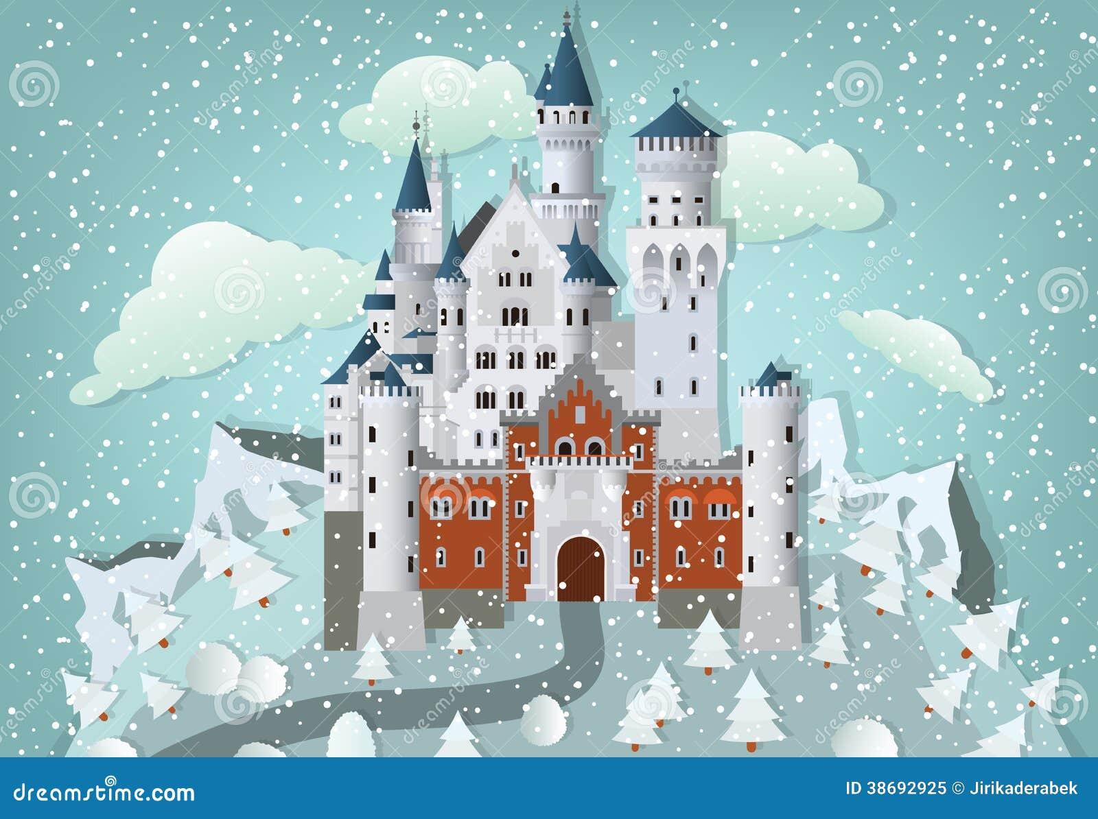 Castillo del cuento de hadas en invierno