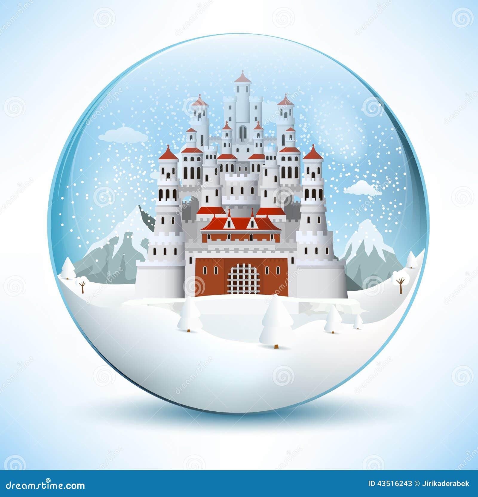 Castillo del cuento de hadas en la esfera de cristal