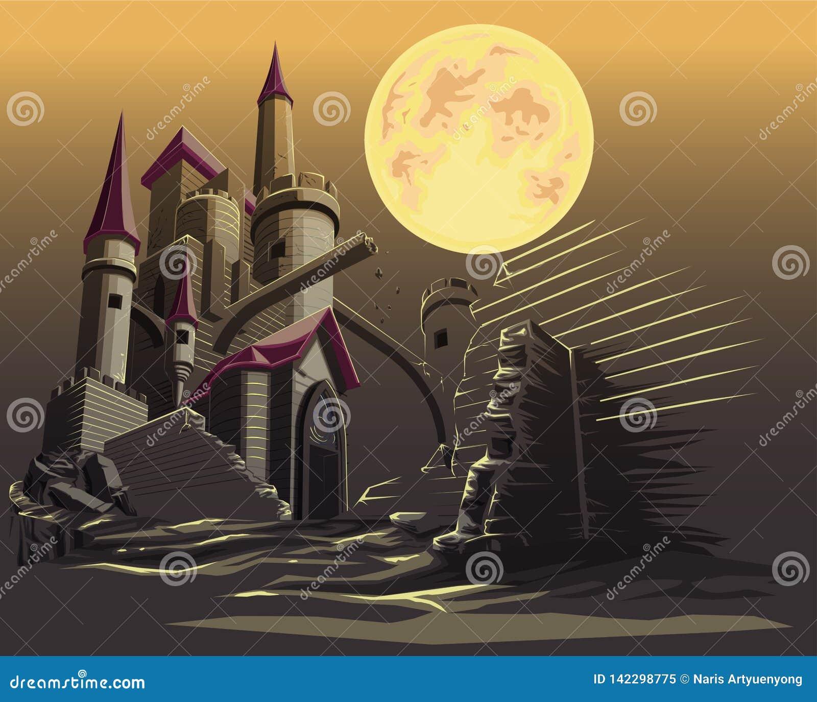 Castillo en la noche oscura y la Luna Llena