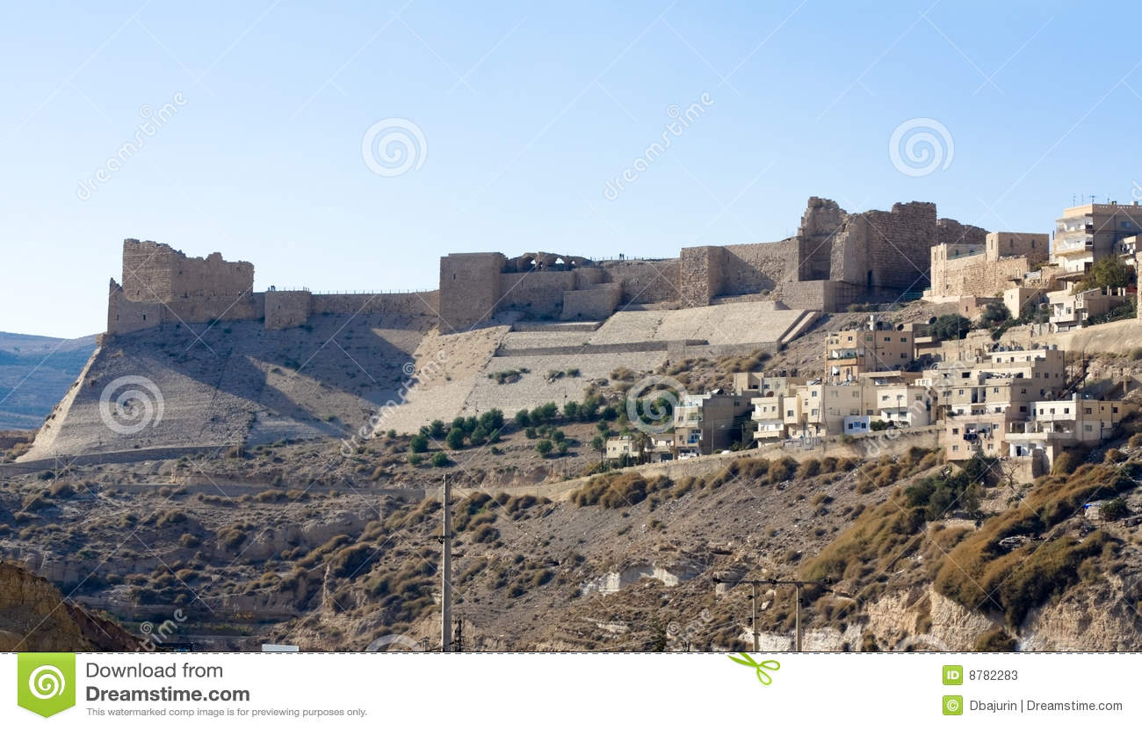 Karak Jordan  city pictures gallery : Vista al castillo Kerak karak del cruzado del Al en Jordania.