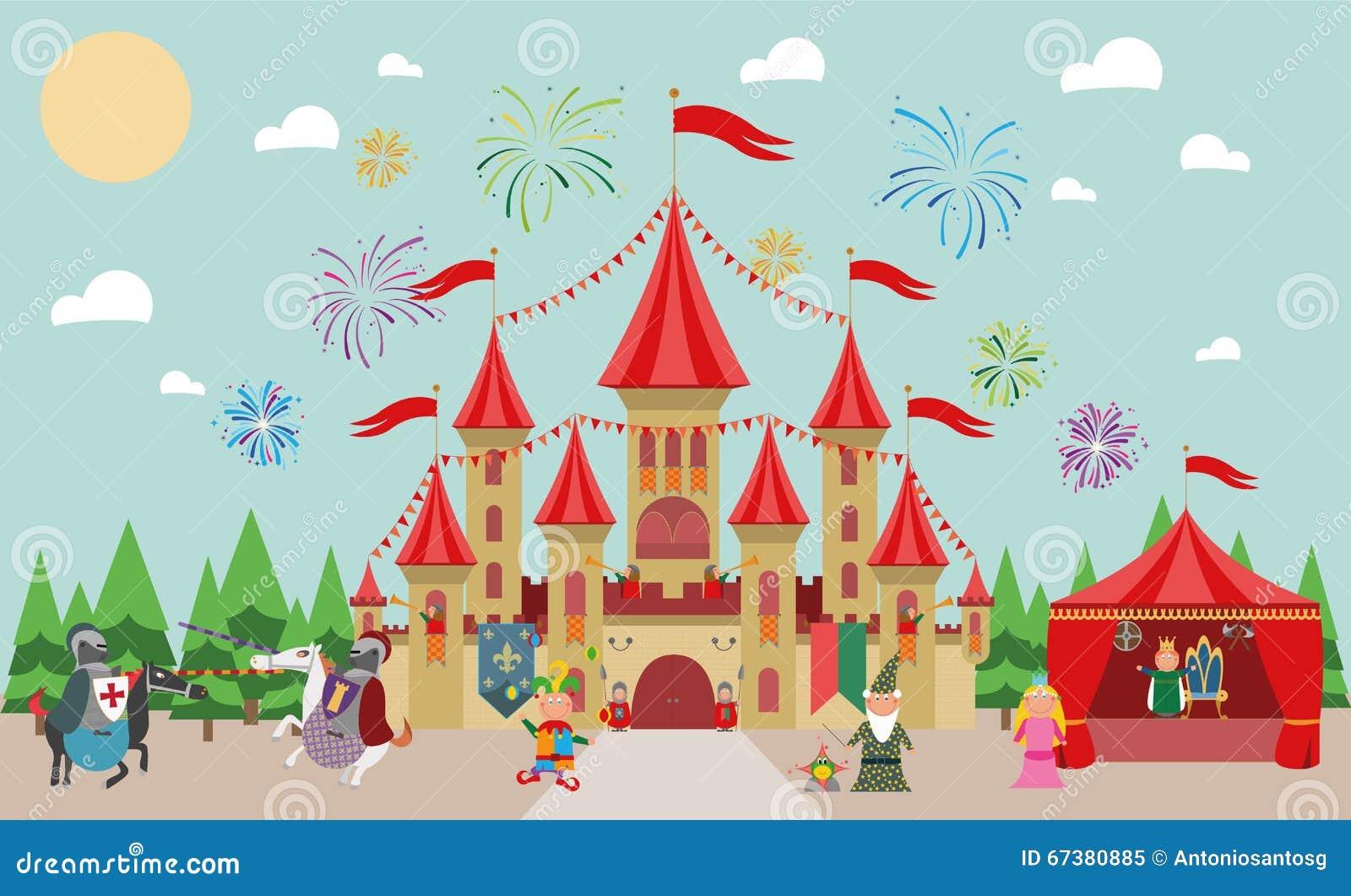 Castillo medieval con los caracteres (rey, princesa, mago, caballeros y bufón) y los fuegos artificiales