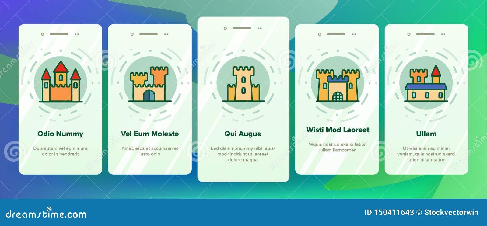 Castillo, pantalla móvil de la página del App de Onboarding del vector medieval de los edificios