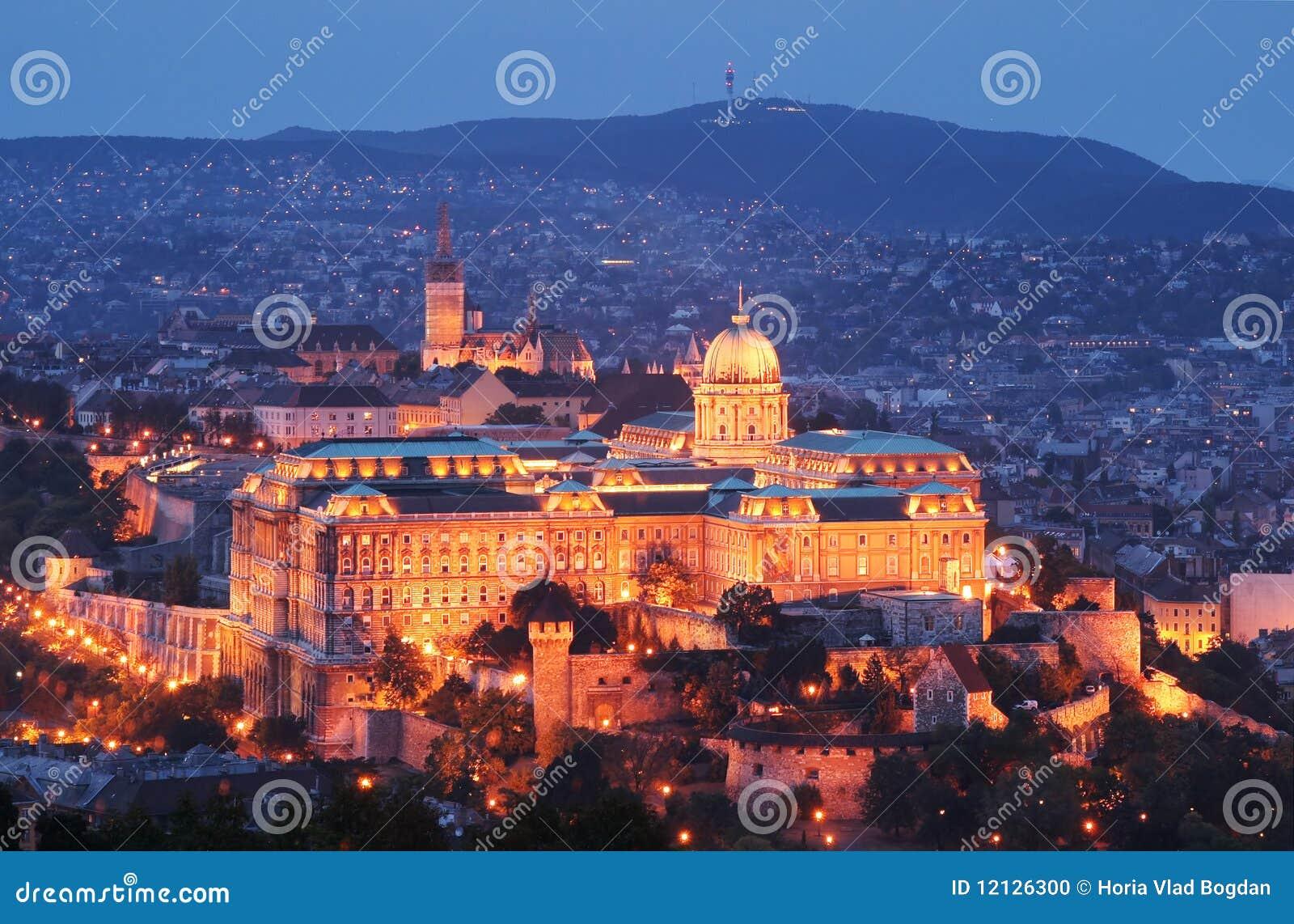 Castillo por noche - Budapest, Hungría de Buda