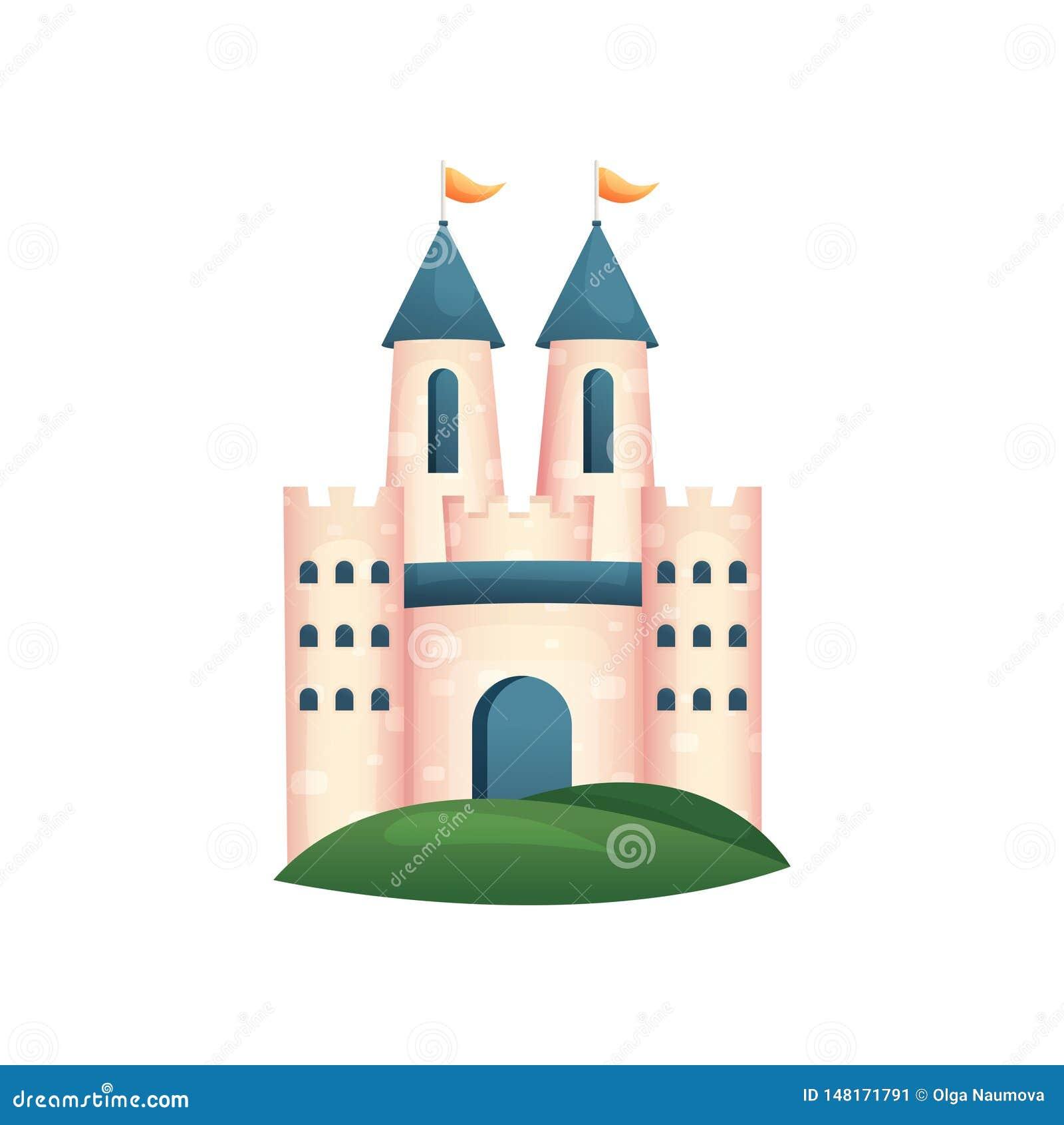 Castillo real medieval con la puerta y el tejado azules, bandera amarilla