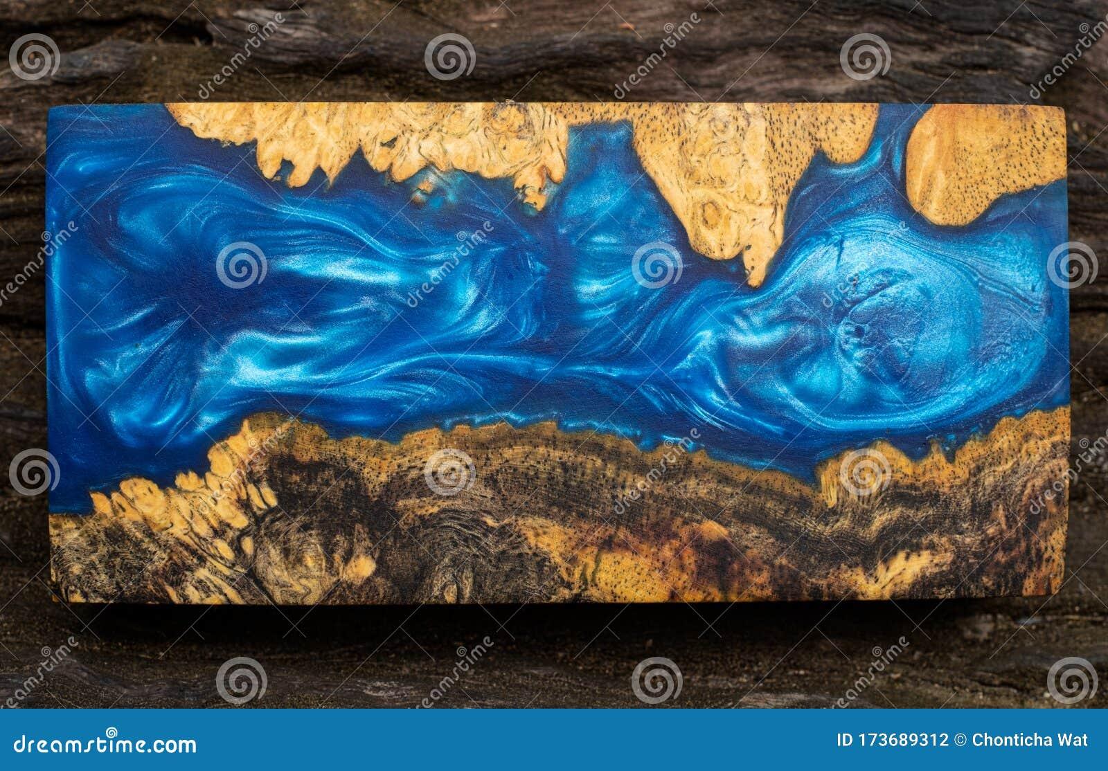 Casting Blue Epoxy Resin Burl Wood Cube On Old Table Art Background Stock Photo Image Of Metallic Modern 173689312