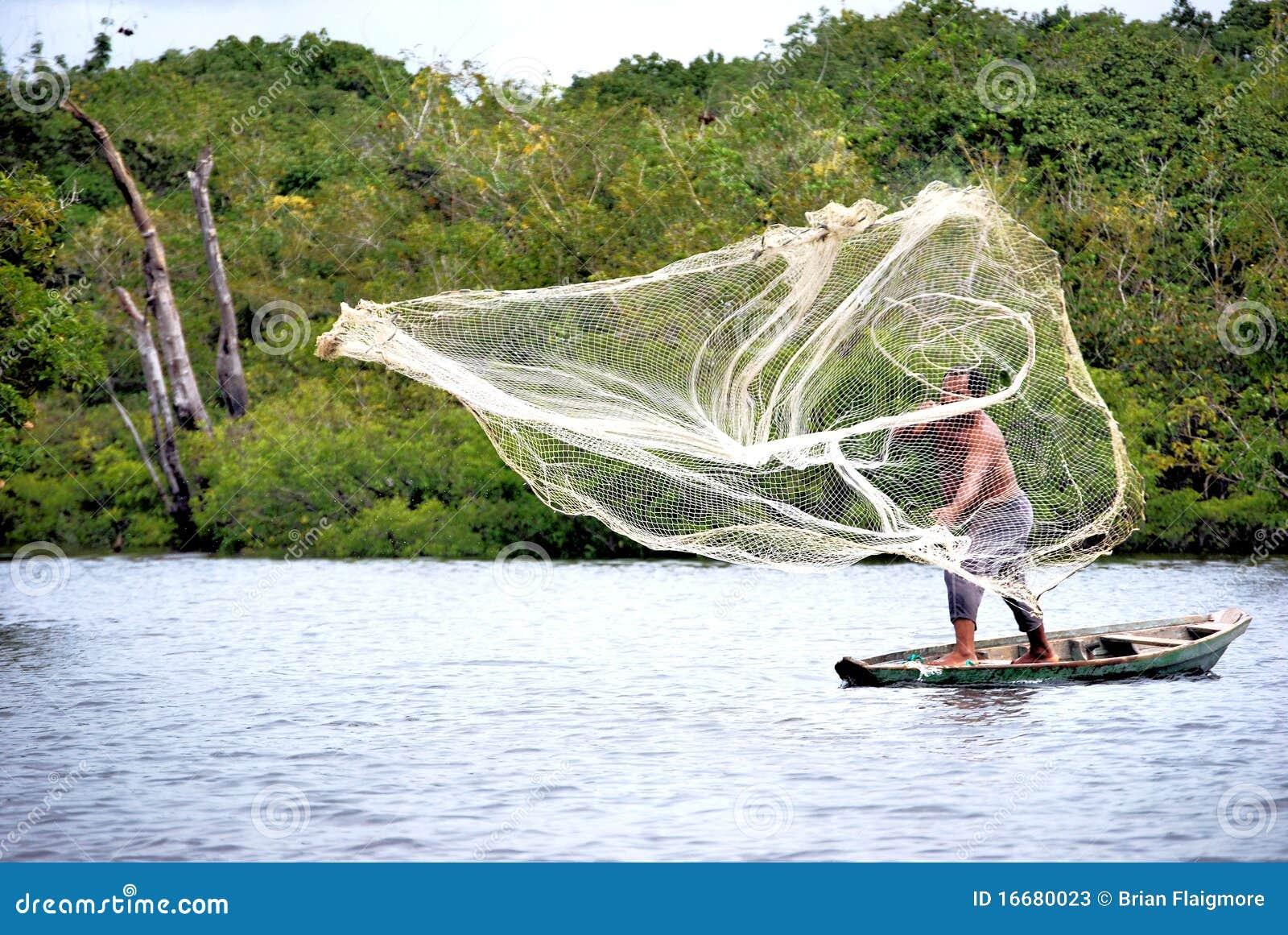 Casting net in amazon editorial stock photo image 16680023 for Amazon fishing net