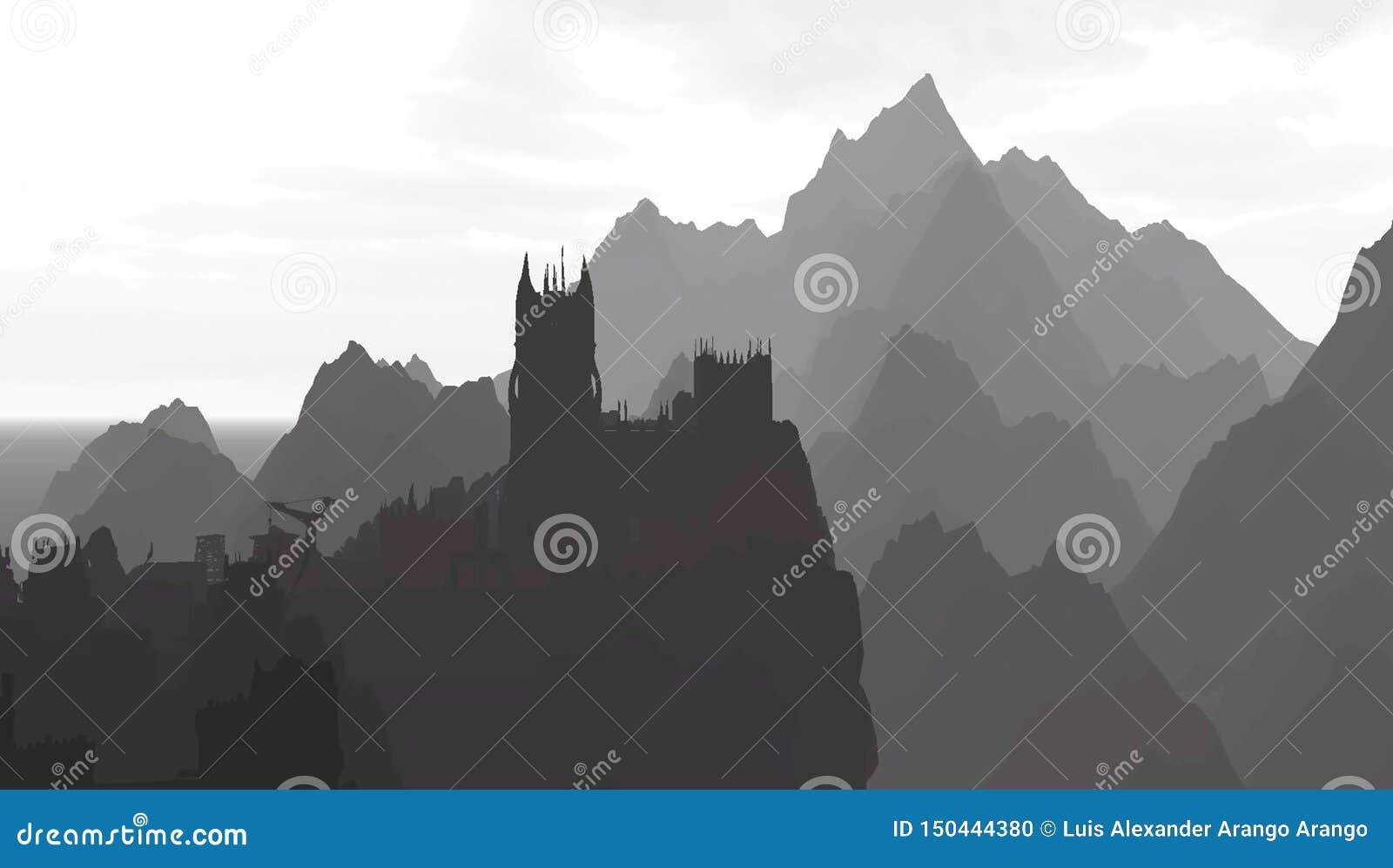 Castle στα βουνά στο grayscale