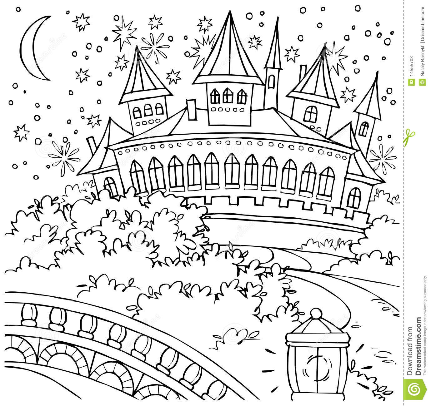 Illustration coloring page fairy tale castle with many towers
