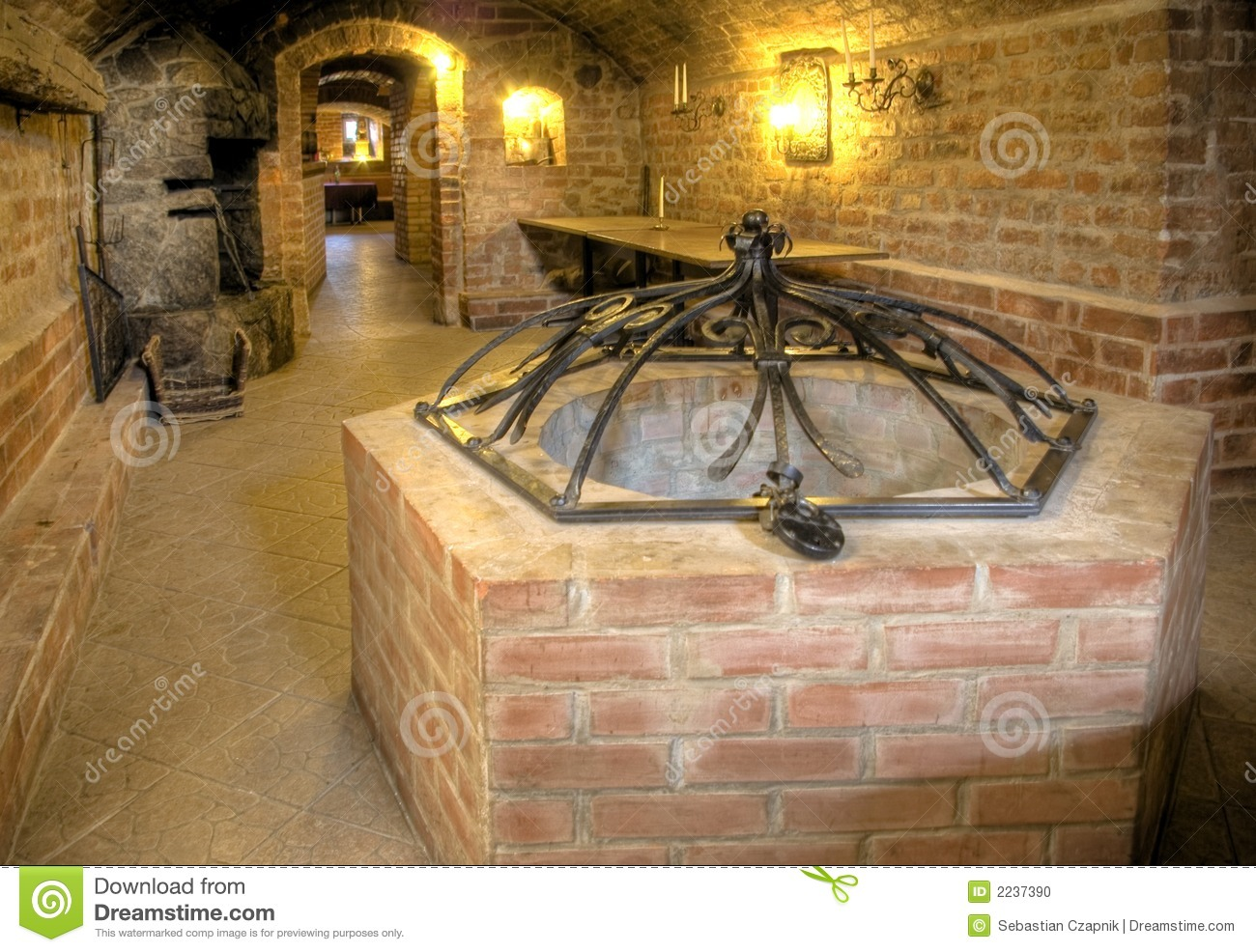 castle basement a well stock photo image 2237390