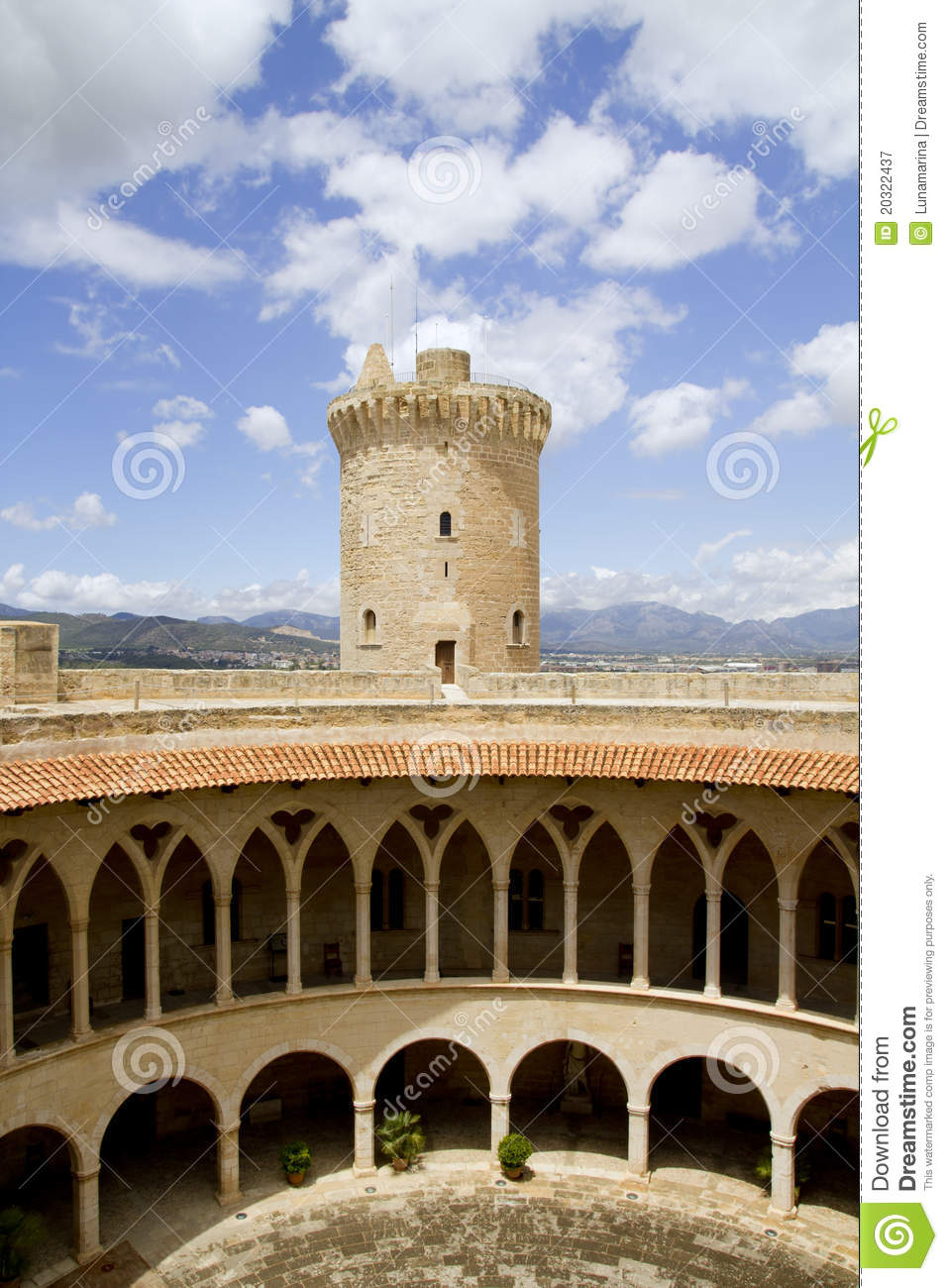 Download Castle Bellver in Majorca stock image. Image of history - 20322437