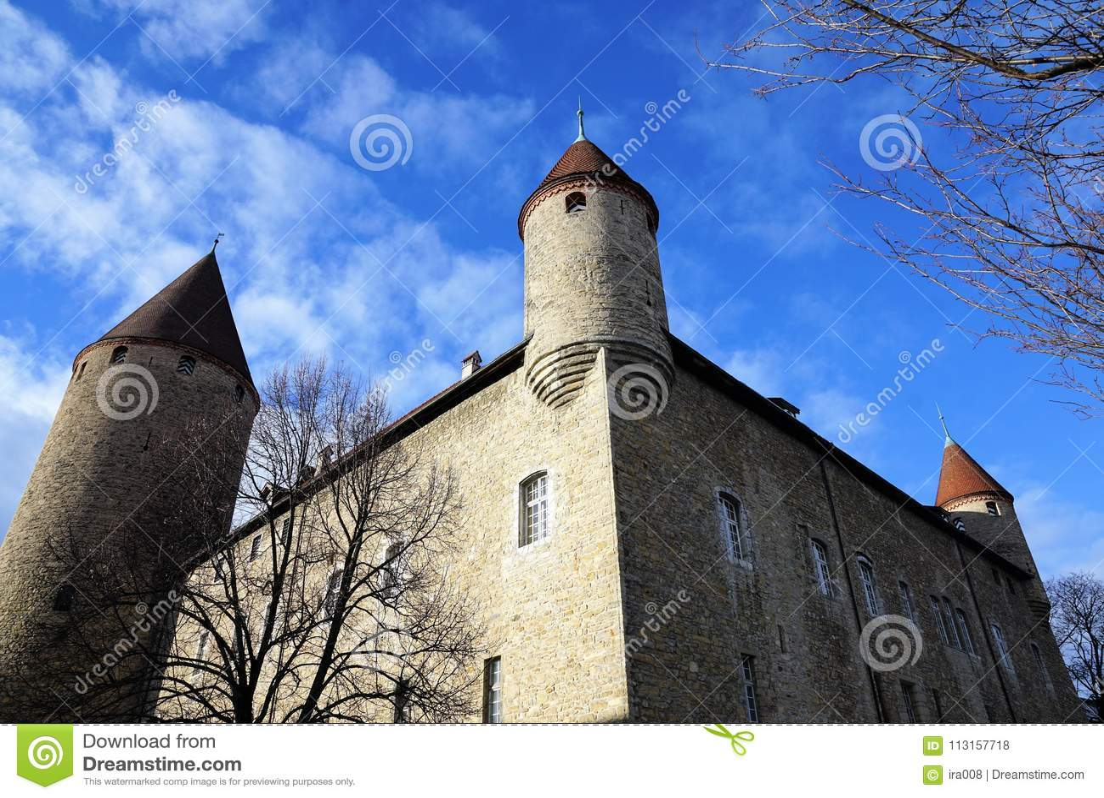 Castle in bulle in gruyere in south switzerland