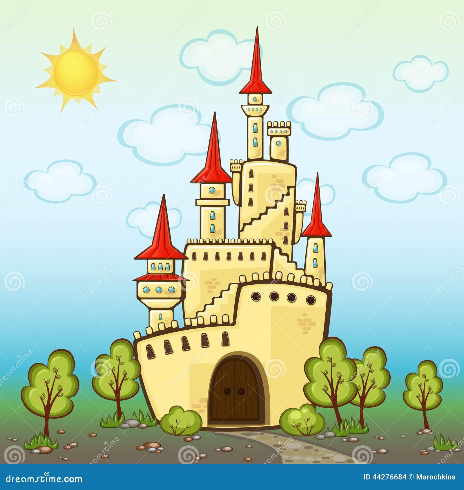Castle In Cartoon Style Stock Vector. Illustration Of