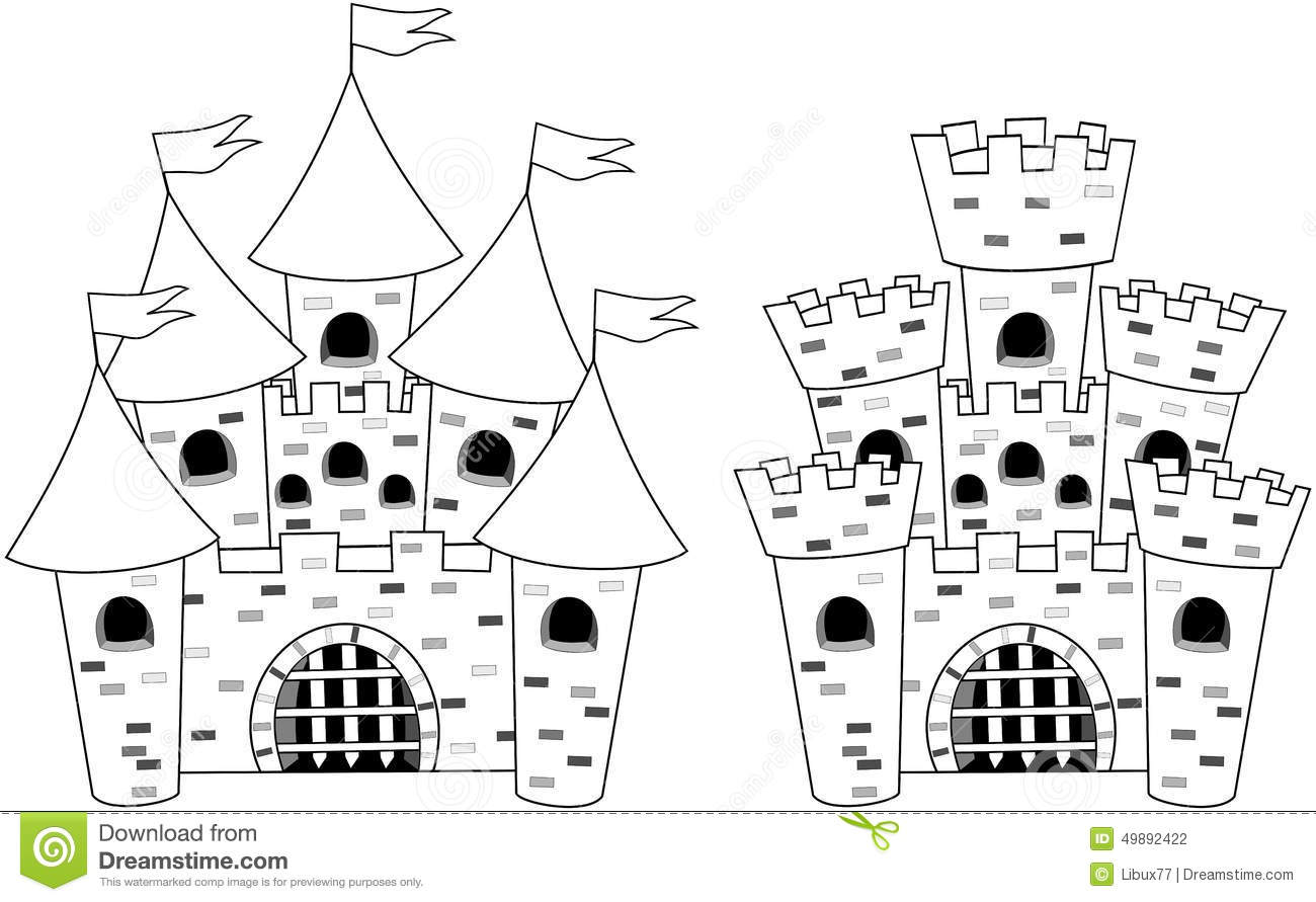 Two Cartoon castles for colouring book isolated white background. Eps ...