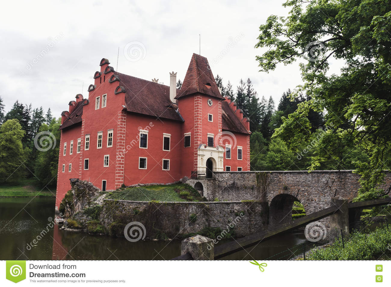 The castle of cervena Lhota in may.