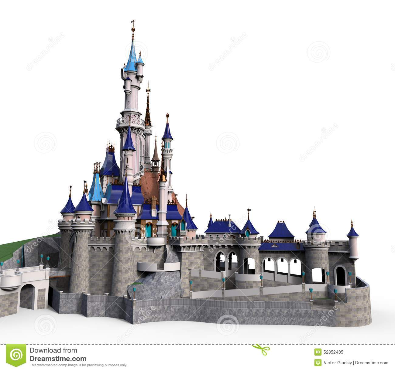 Clip-art castle isolated on the white background.
