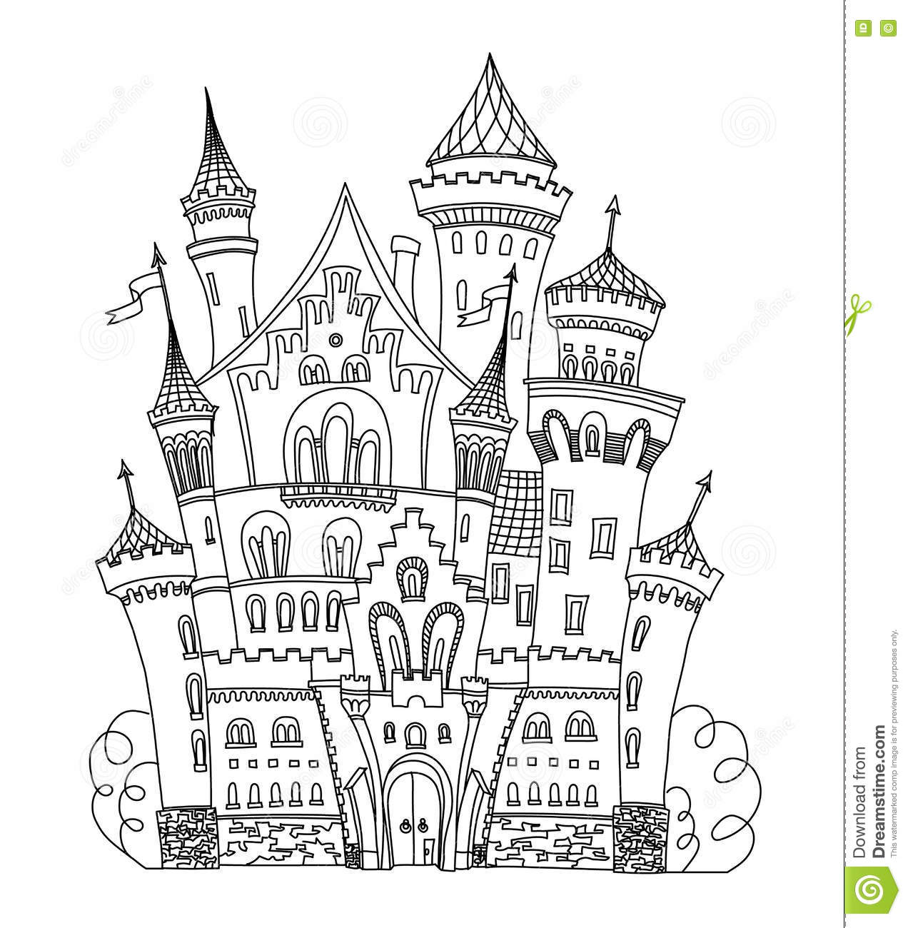 Coloring book landmark for adults - Castle Coloring Book For Adults And Children Vector Illustration Anti Stress Adult Black