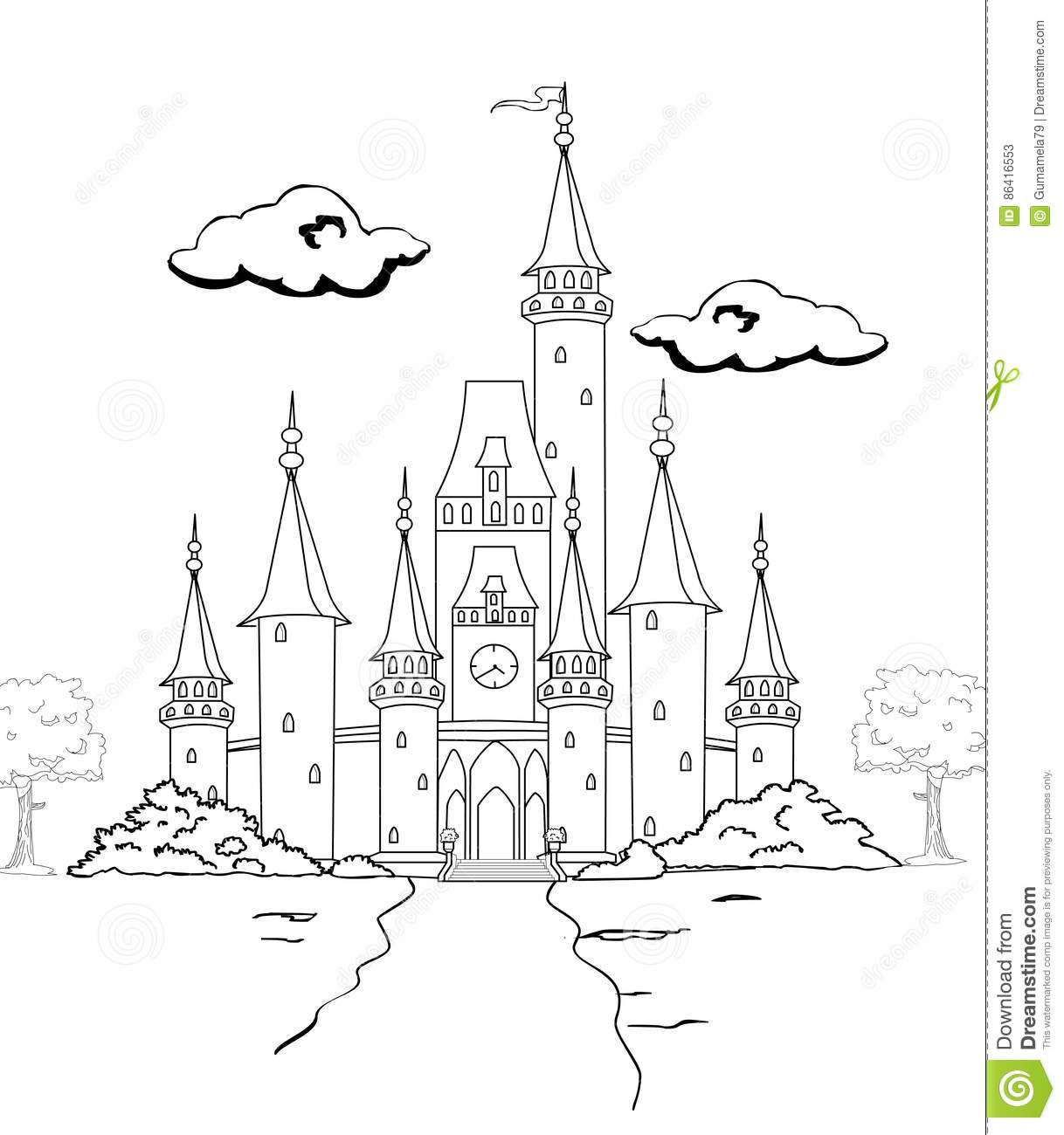 Castle Coloring Page Stock Illustration Illustration Of Abstract