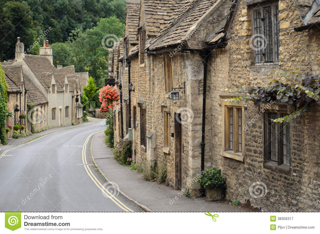 Castle Combe Cotswolds Cottages Royalty Free Stock