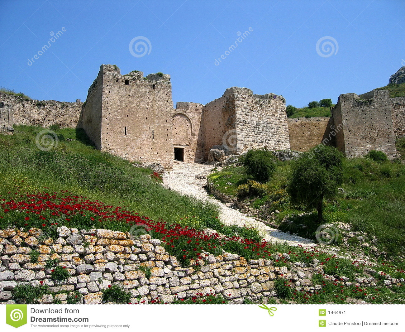 Castle In Corinth In Greece Stock Image - Image: 1464671