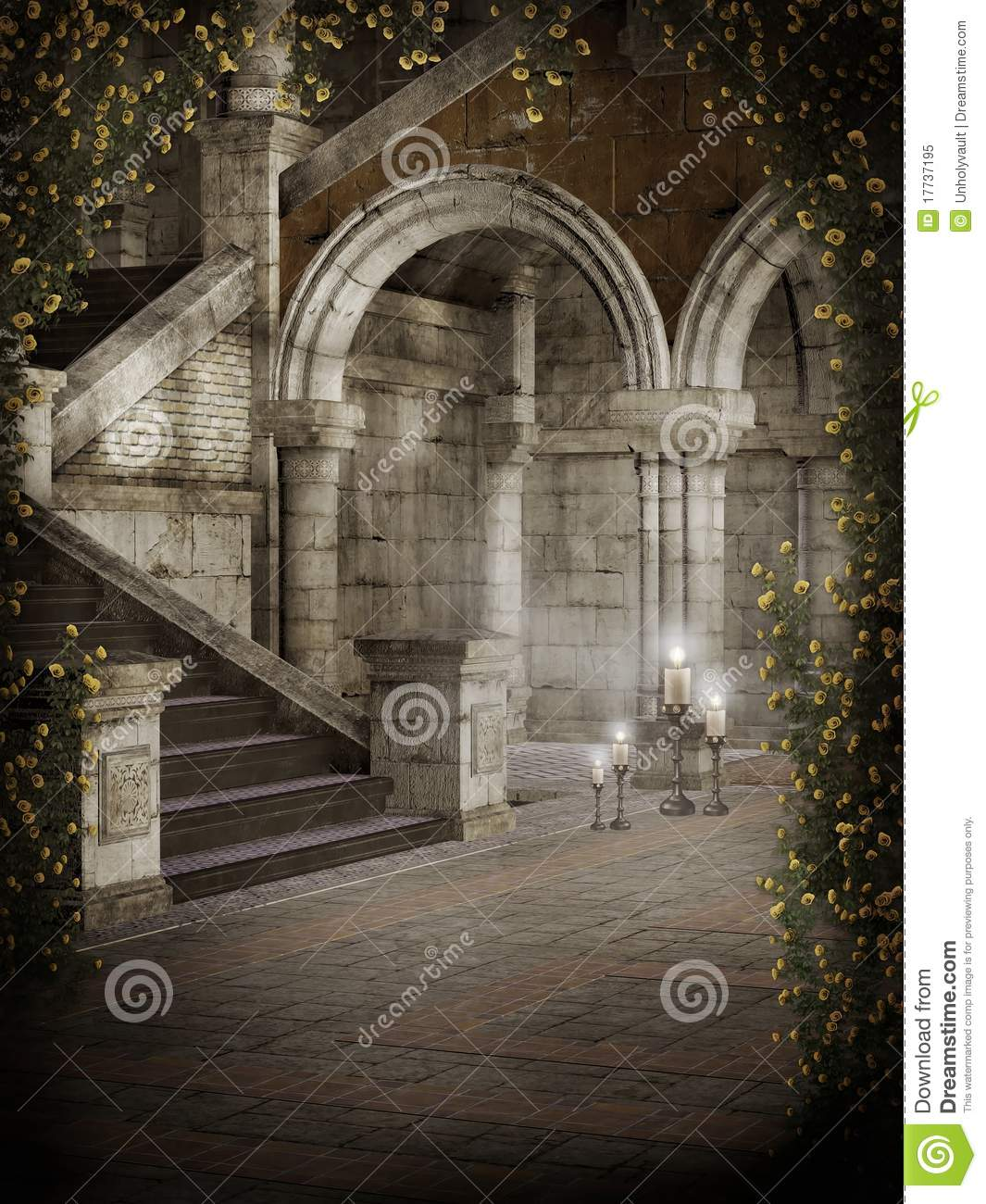 Castle Courtyard Stock Illustration Image Of Candle