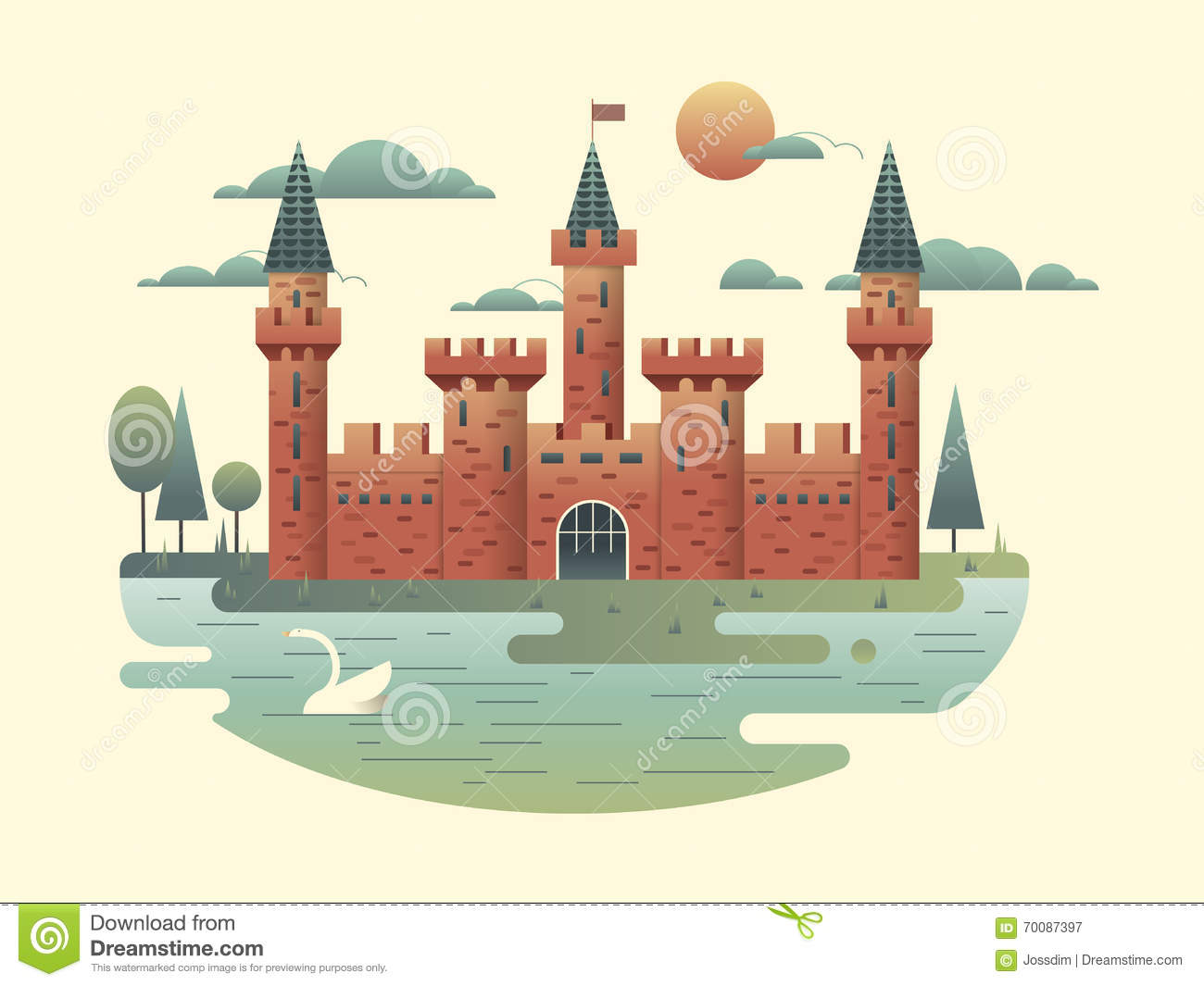 Castle Design Flat Stock Vector Image 70087397