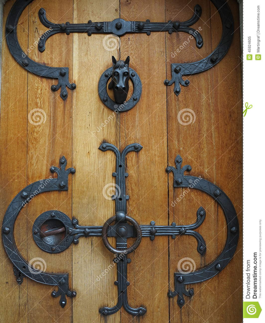 Castle Door Wrought Iron Fittings Stock Photo Image
