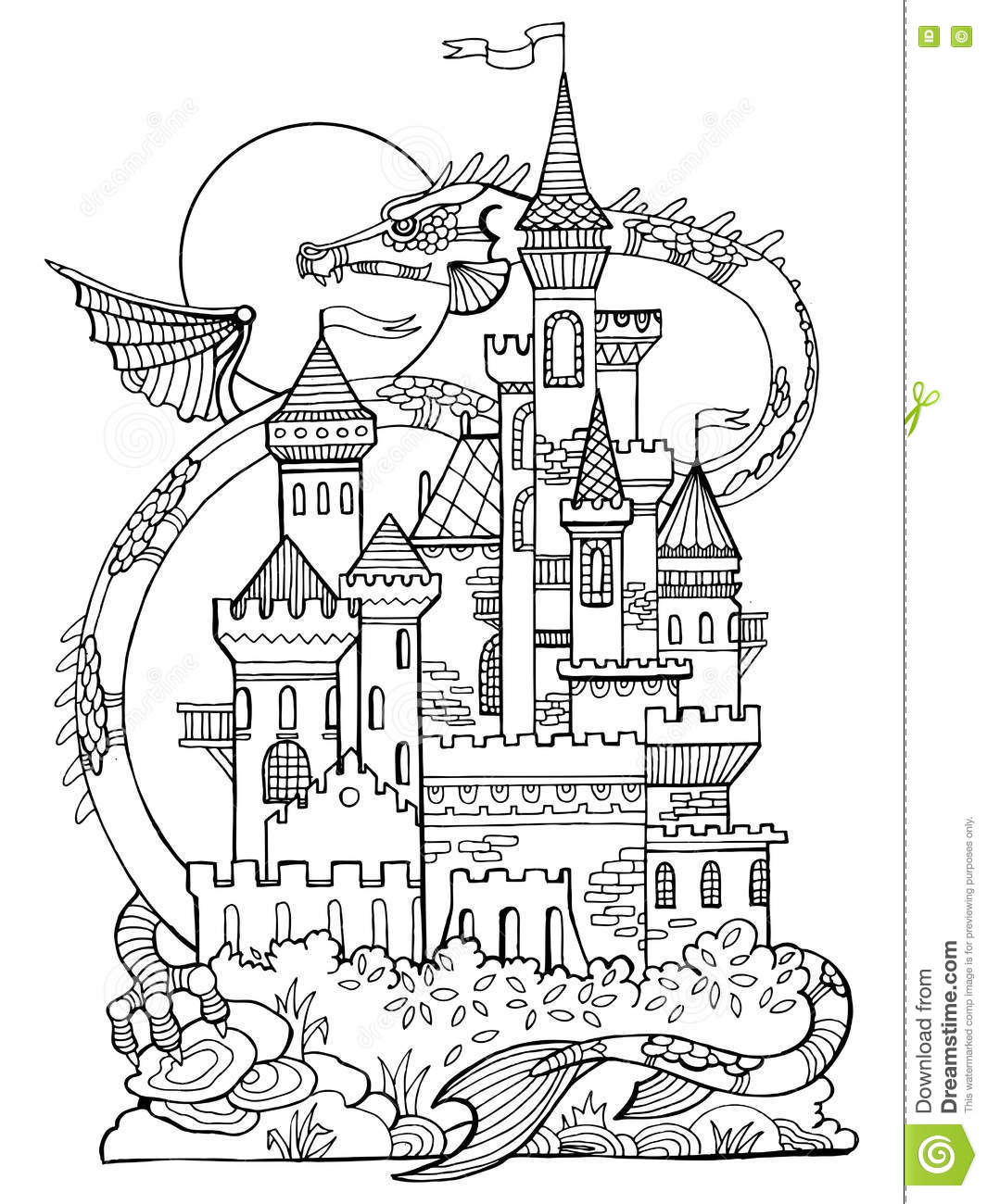 Castle And Dragon Coloring Book Vector Stock Vector
