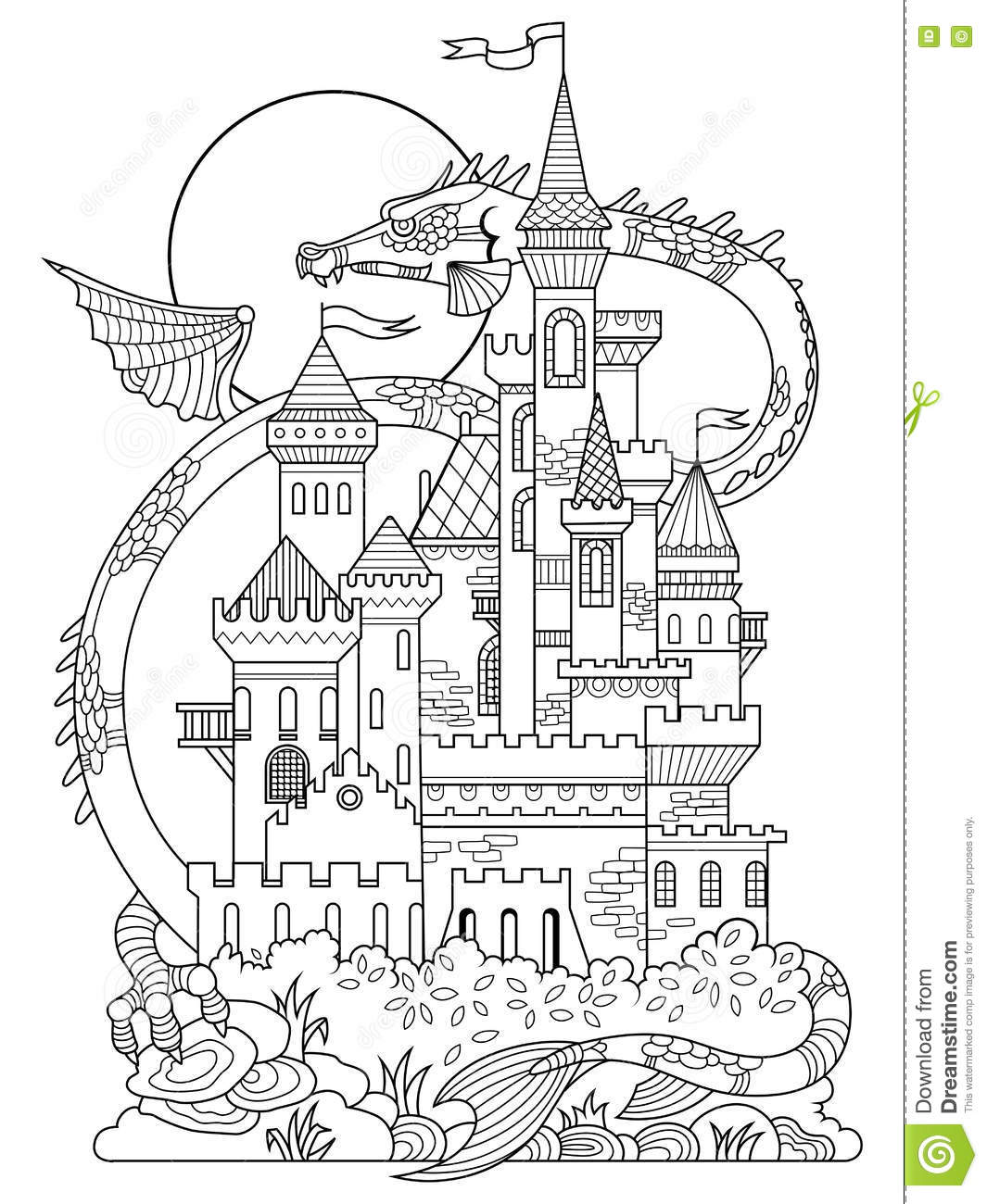 Castle And Dragon Coloring Book Vector Stock