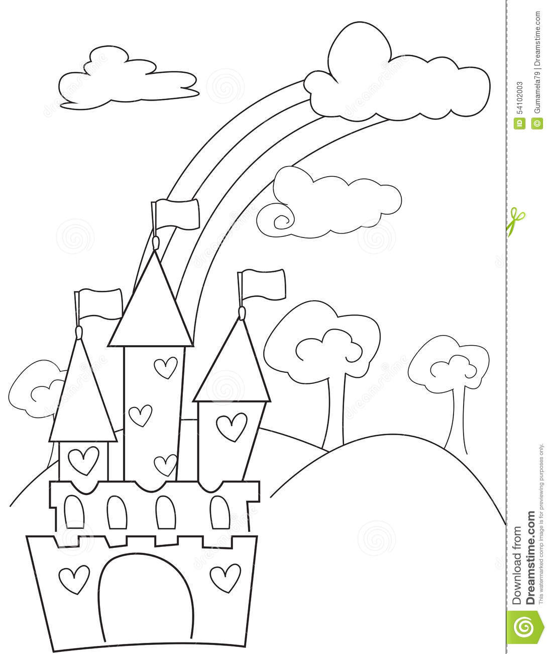 castle with hearts coloring page stock illustration image 54102003