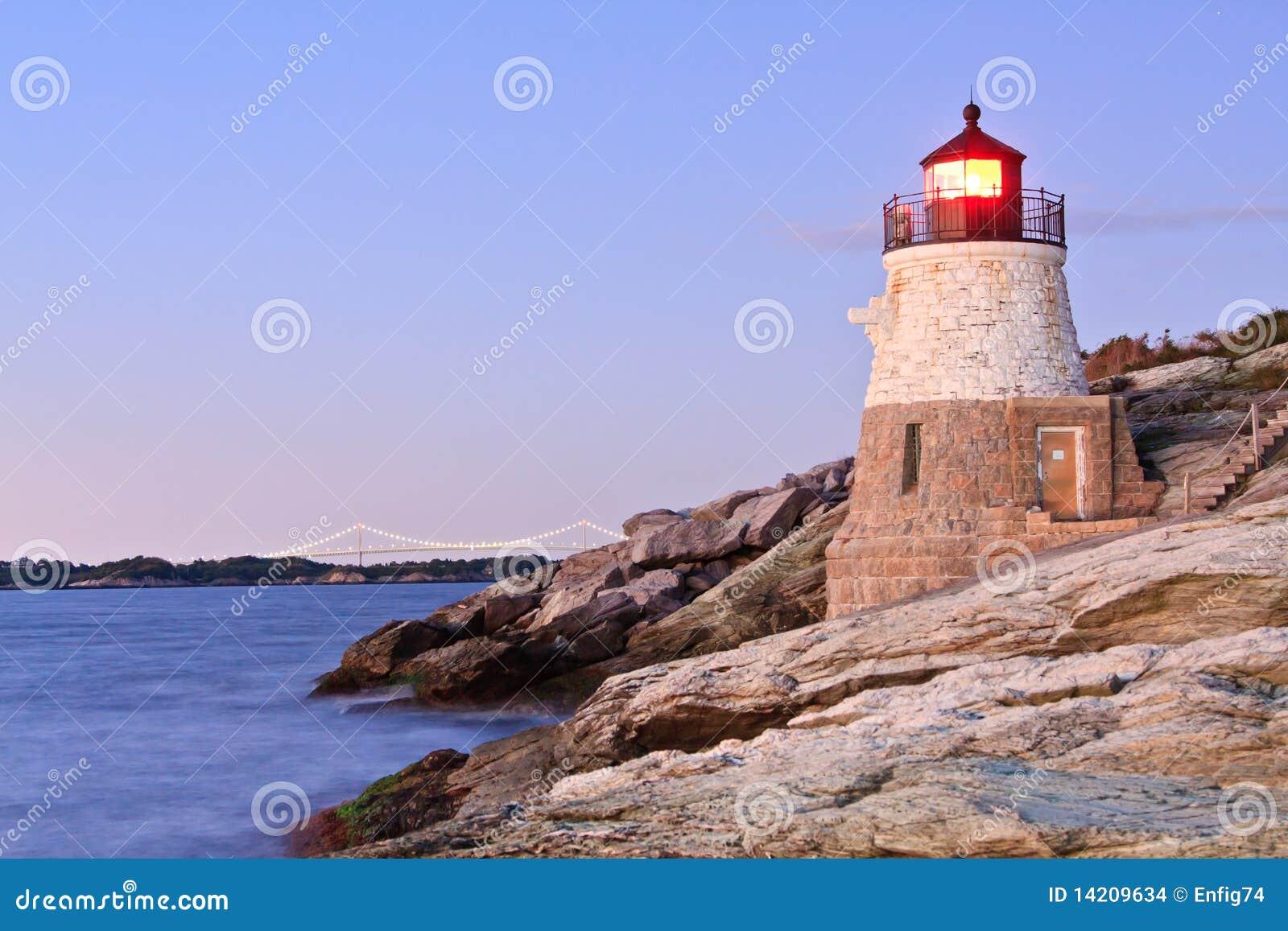 Castle Hill Lighthouse and Newport Bridge