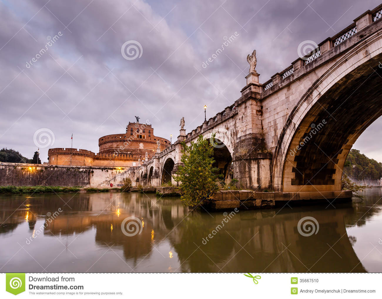 Castle Of Holy Angel And Holy Angel Bridge Over The Tiber