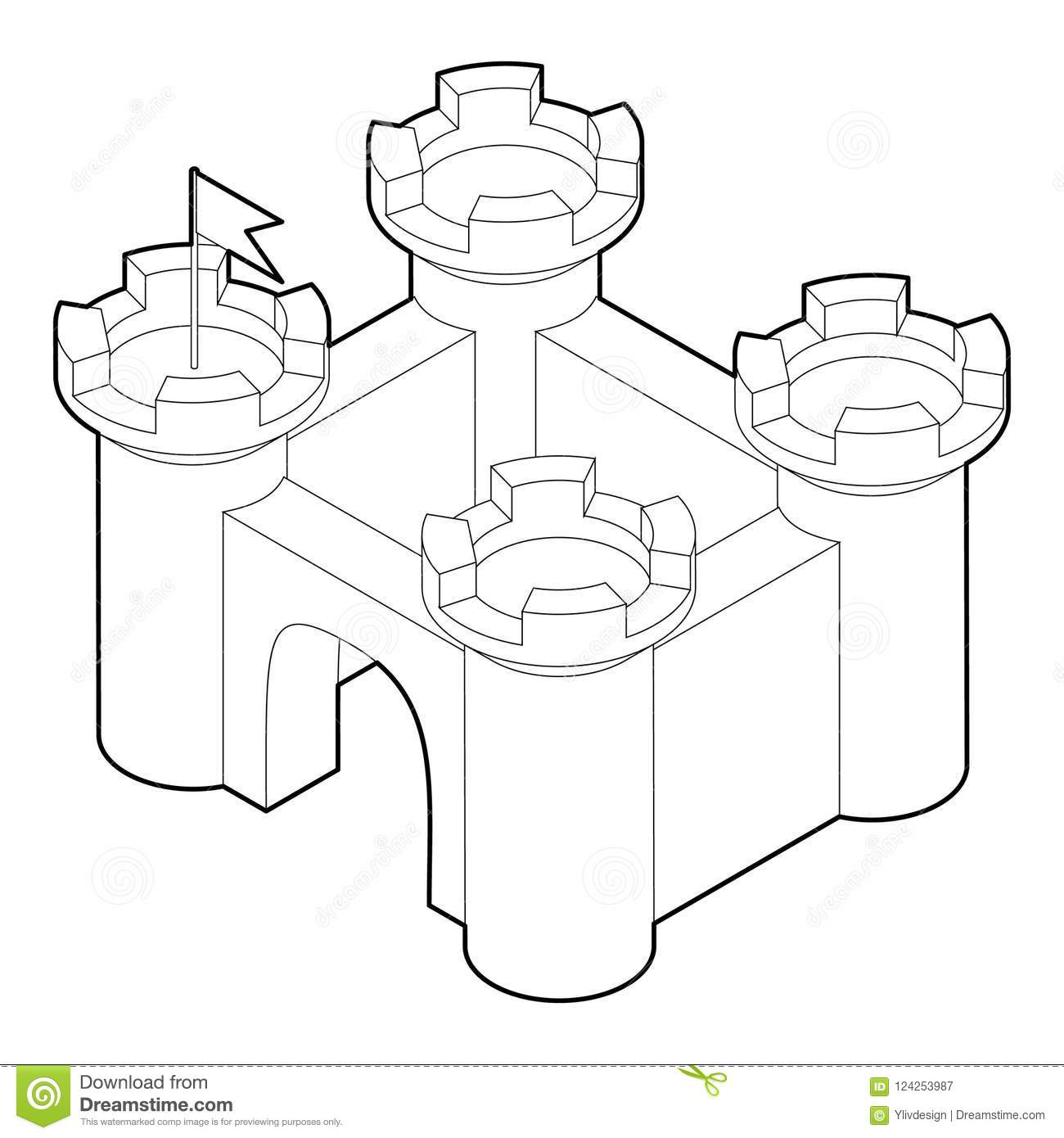 Download Castle Icon In Outline Style Stock Illustration