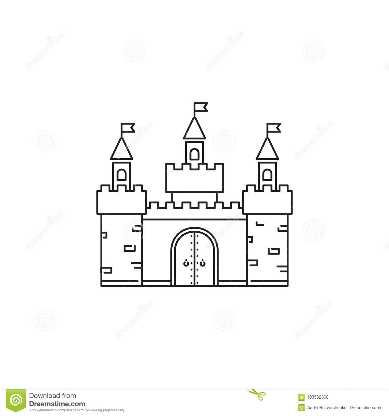 Castle Icon Vector Linear Design Isolated On White Background Park
