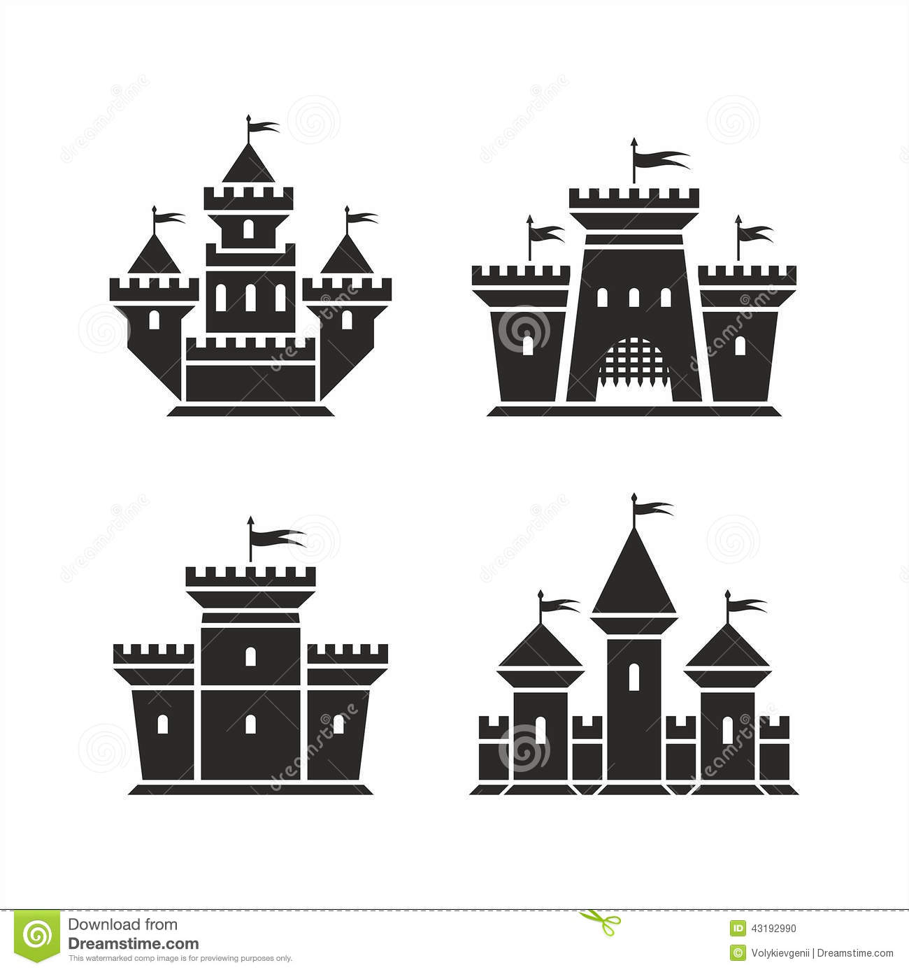 Castle Icons Stock Vector Image 43192990