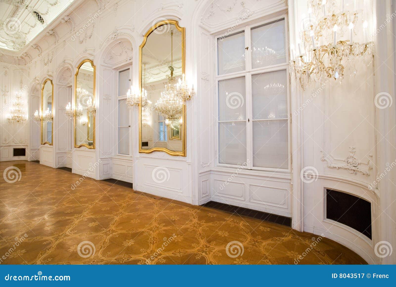 castle interior, mirror room royalty free stock photography
