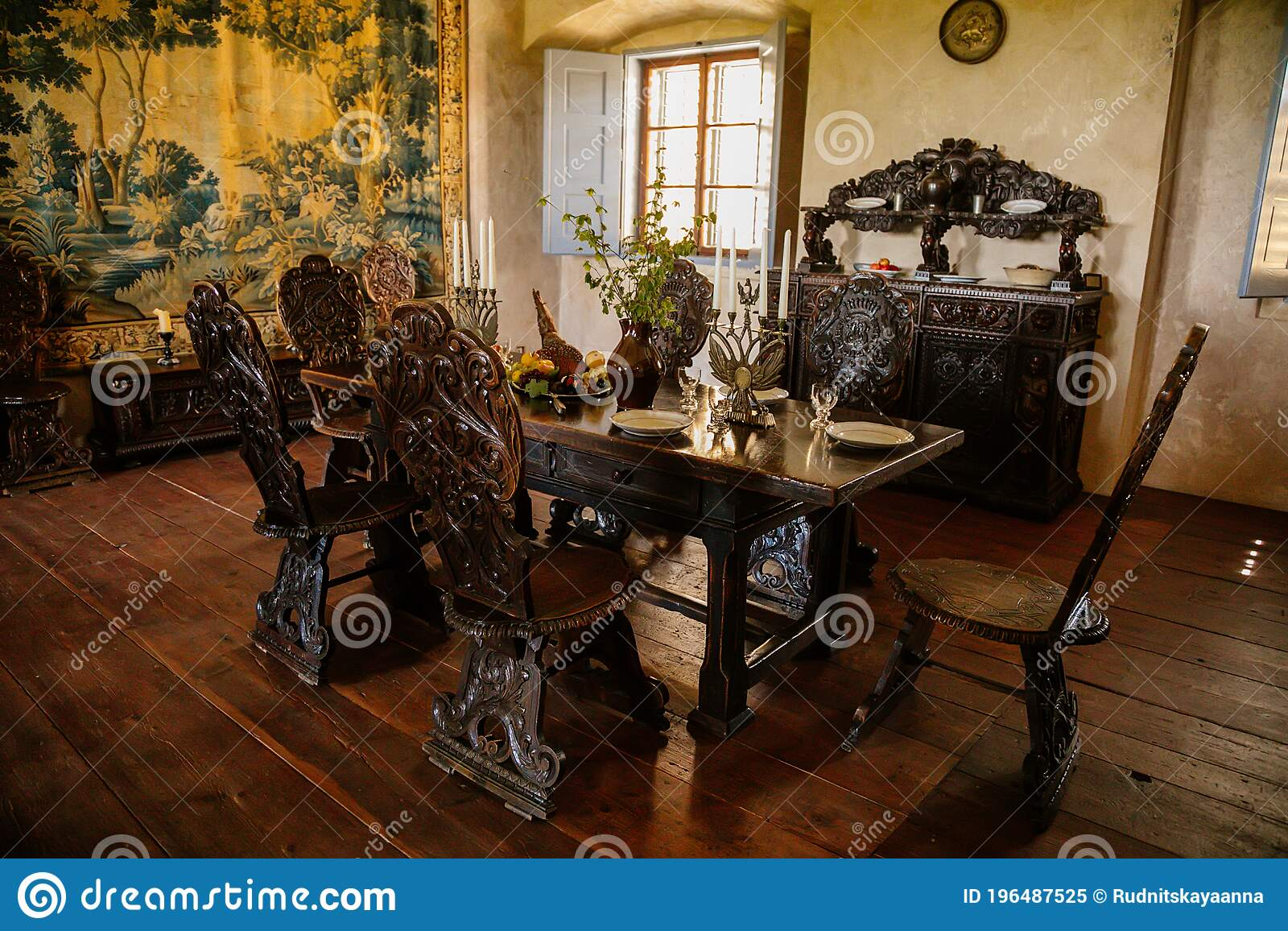 Castle Interior Old Dining Room With Renaissance Furniture Table And Chairs Castle Grabstejn Ancient Medieval Gothic Chateau Editorial Image Image Of Beauty Interior 196487525
