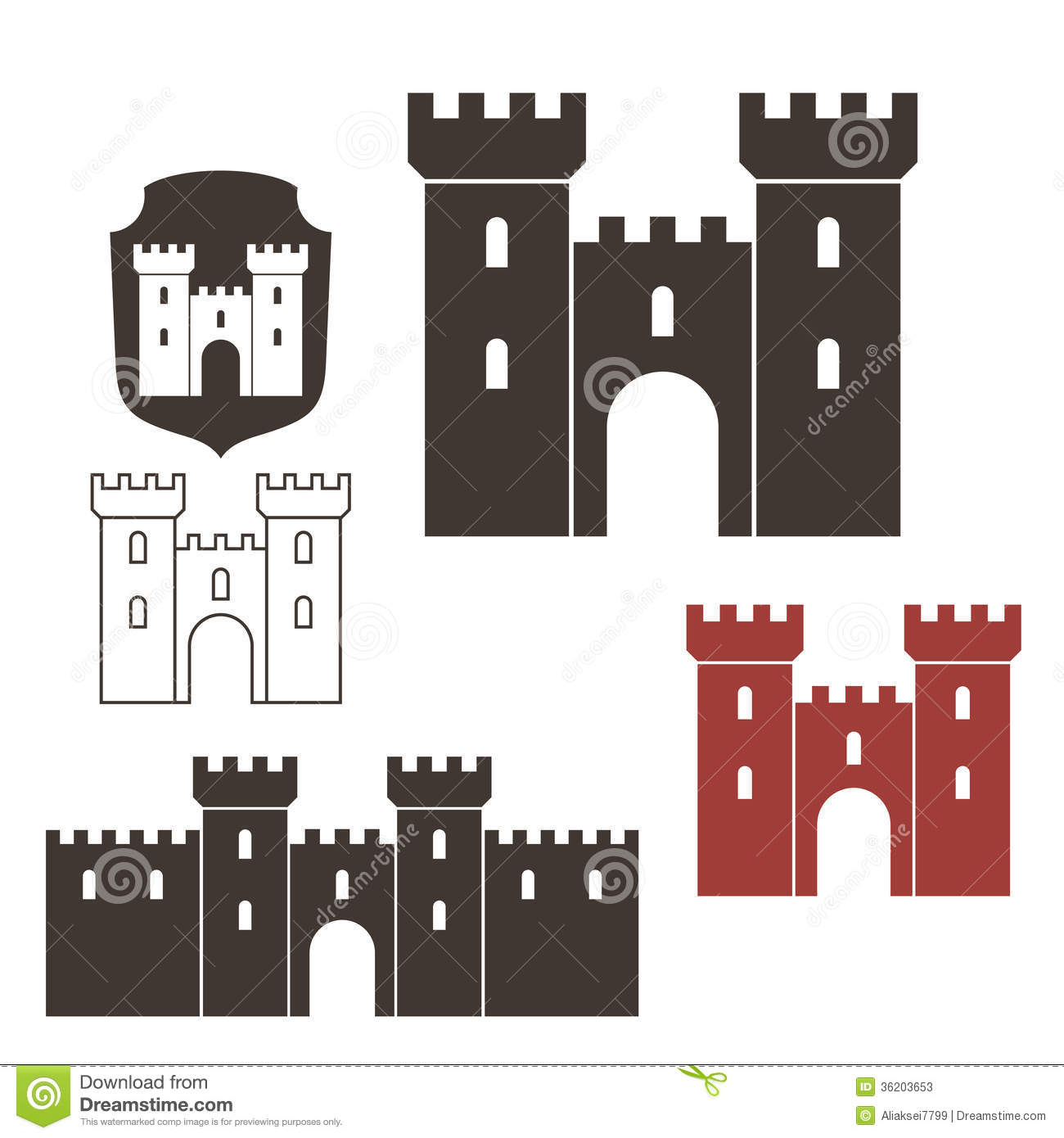 Stock vector of cartoon illustration castle isolated on white - Castle Stock Photos Image 36203653