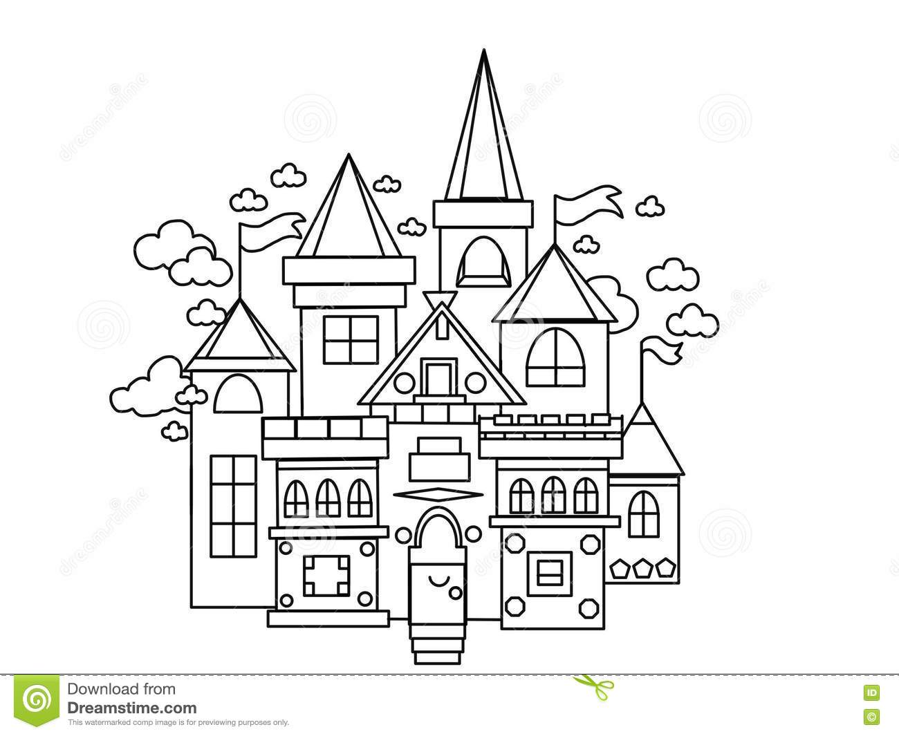 Castle Kingdom Kids And Adults Coloring Pages Stock Illustration
