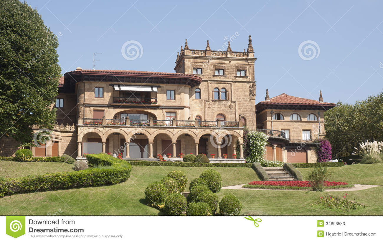 Castle look a like house in getxo bilbao spain stock for Houses that look like castles